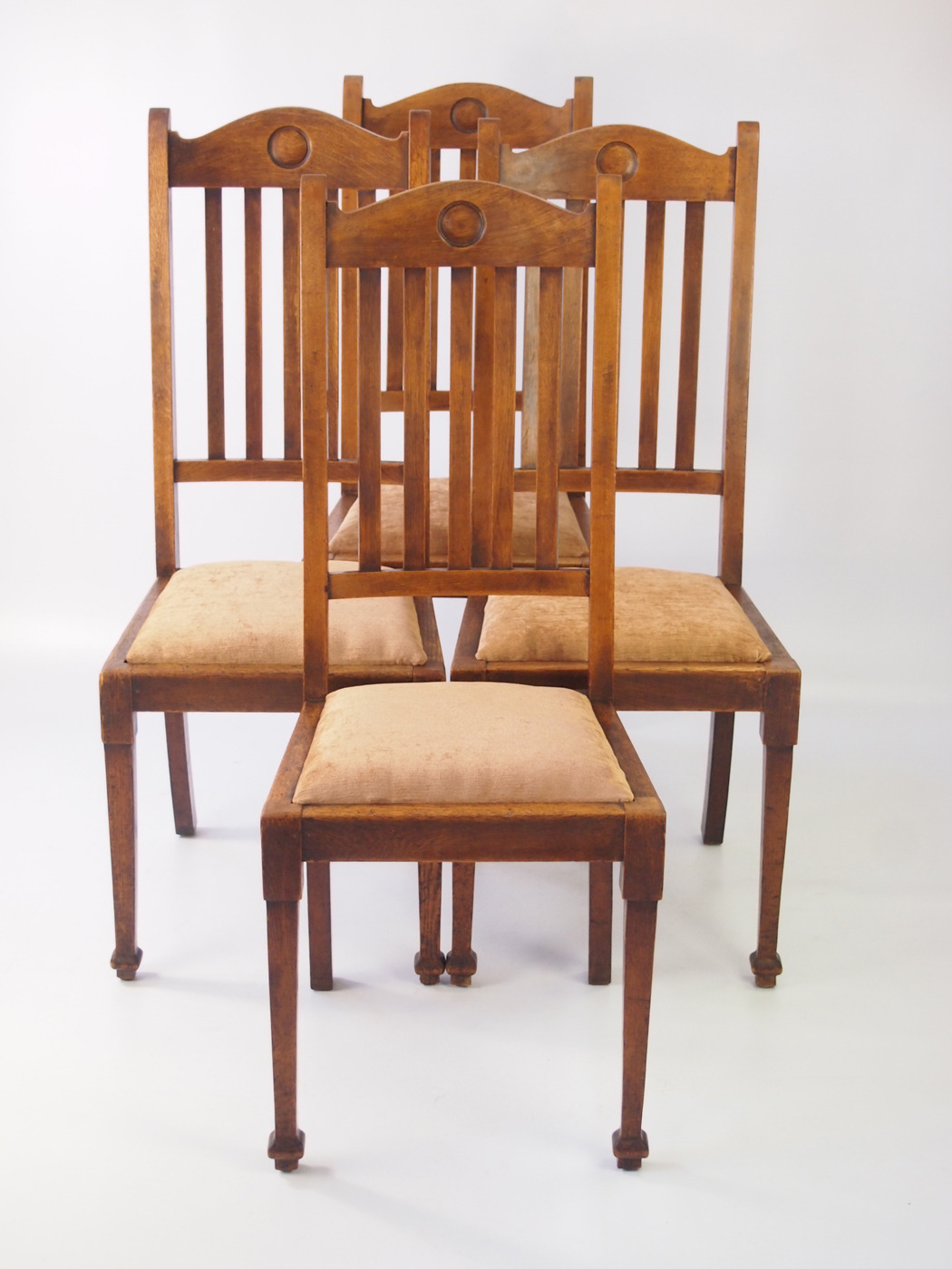 set of 4 edwardian arts and crafts oak chairs