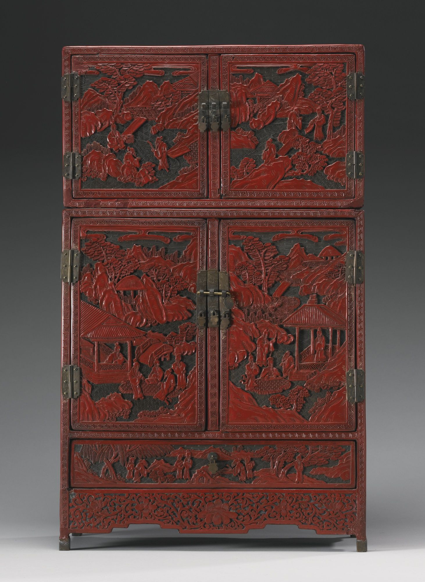 Antique Chinese Furniture for Sale Elegant A Cinnabar Lacquer Small Cabinet Qing Dynasty 19th Century
