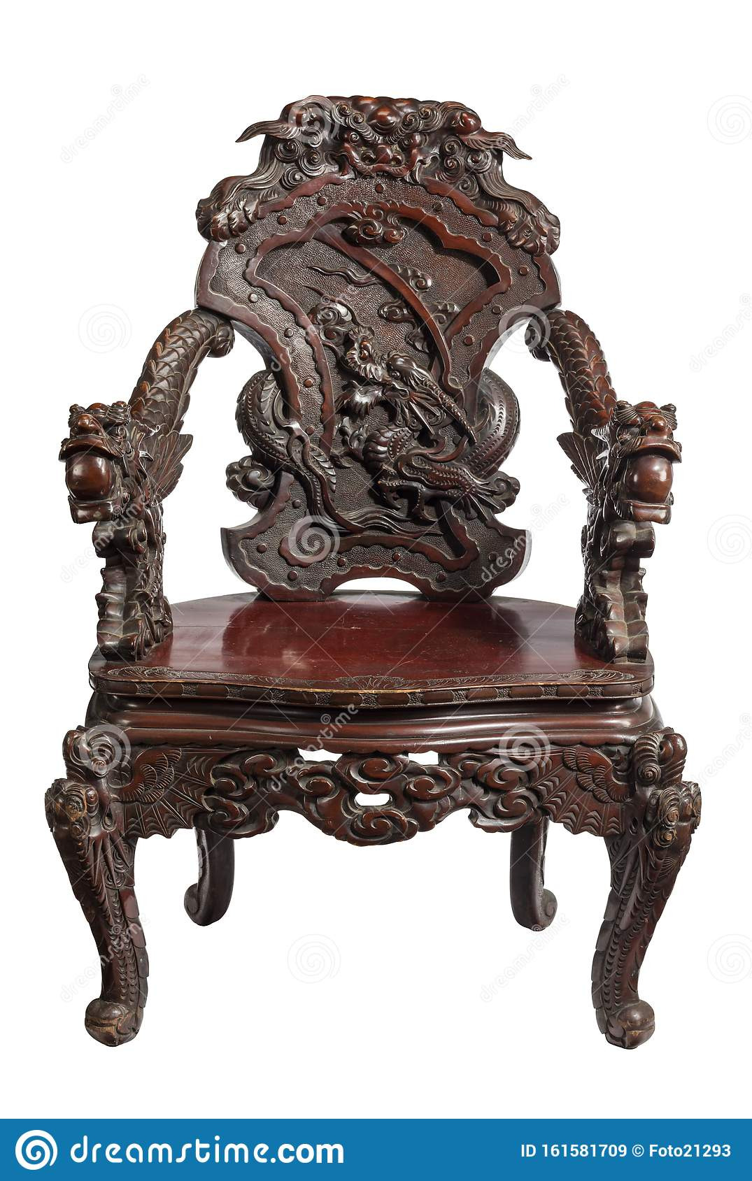 antique chinese chair carved dragons rosewood hardood isolated white