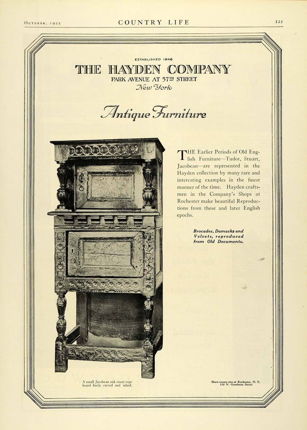 1925 ad hayden co antique furniture jacobean oak cupboard carved home decor col2 986