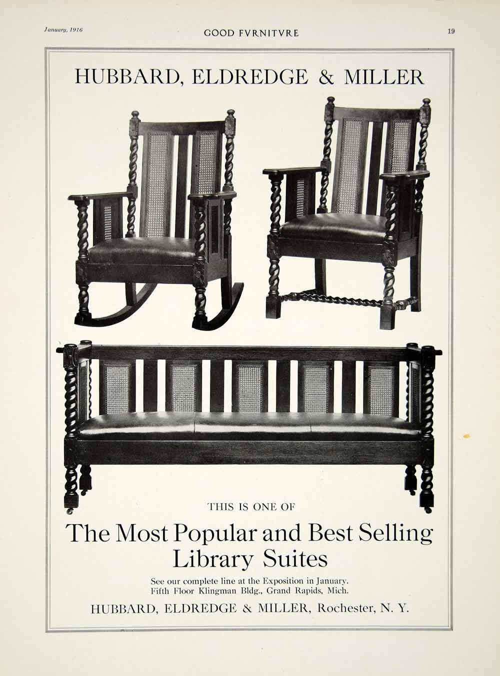 1916 ad vintage library suite furniture chair sofa hubbard eldridge miller gf5 gf5 028