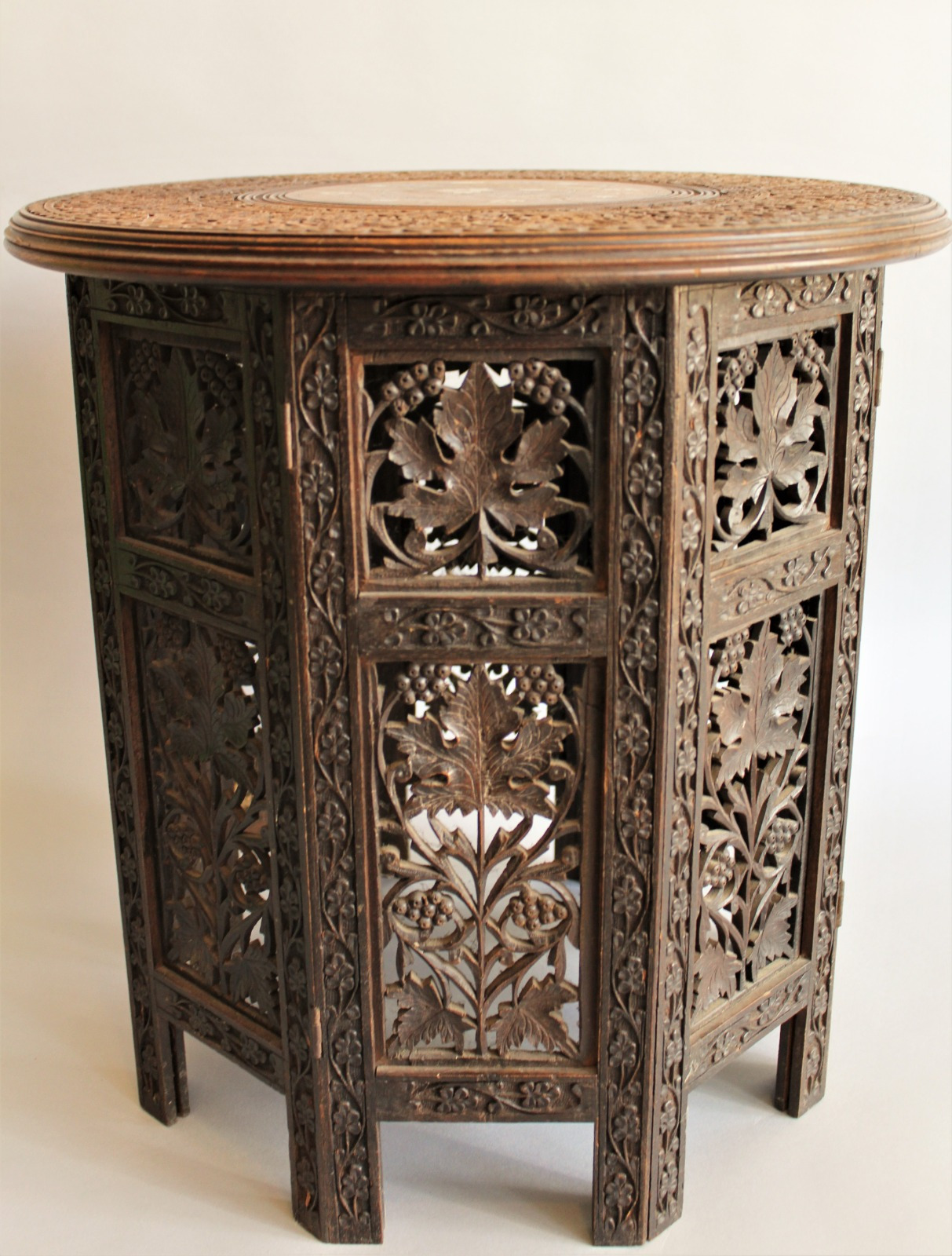 antique inlaid and carved indian hardwood table c1900