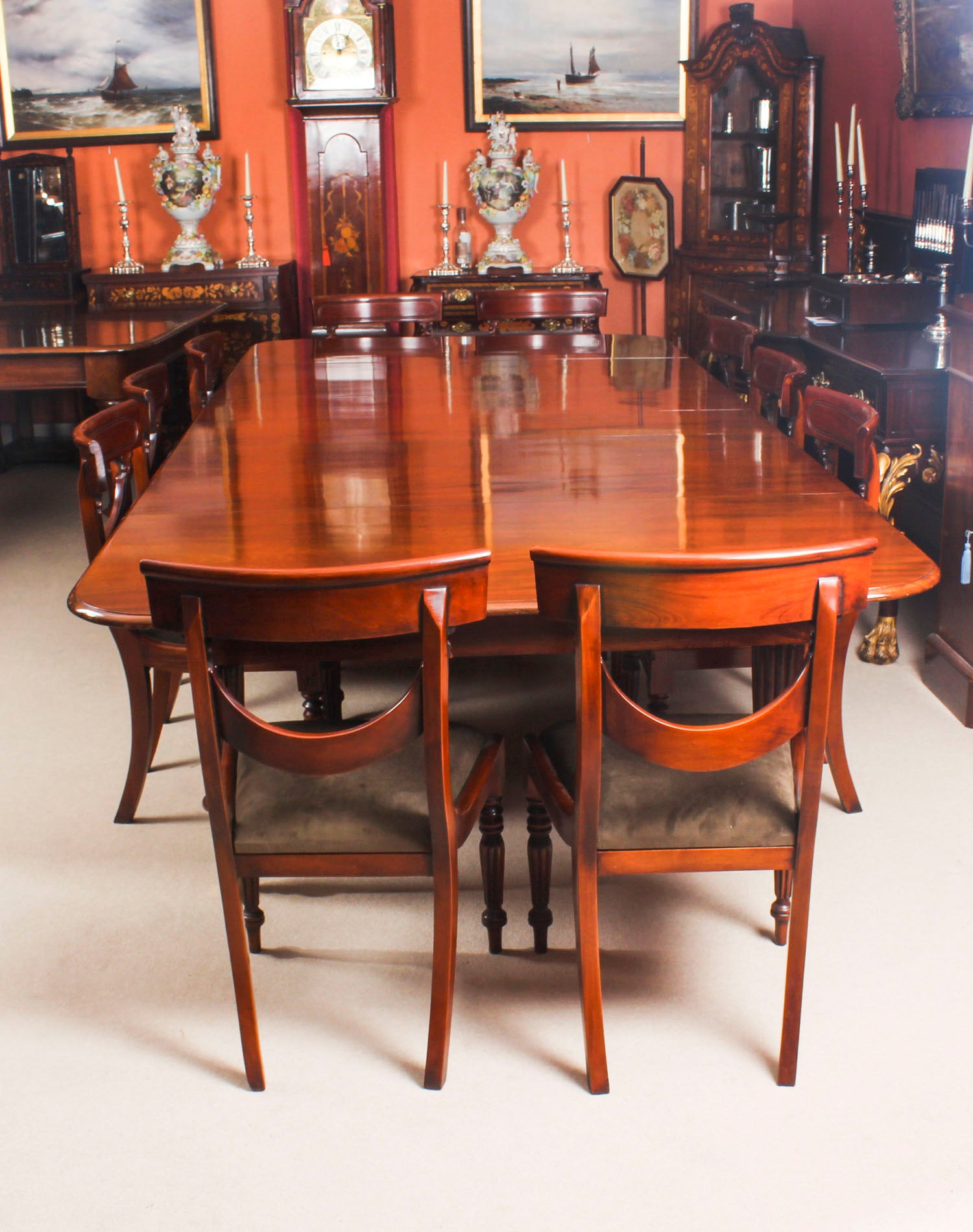 a Antique 11 ft Flame Mahogany Extending Dining Table C1840 and 10 chairs 2 org