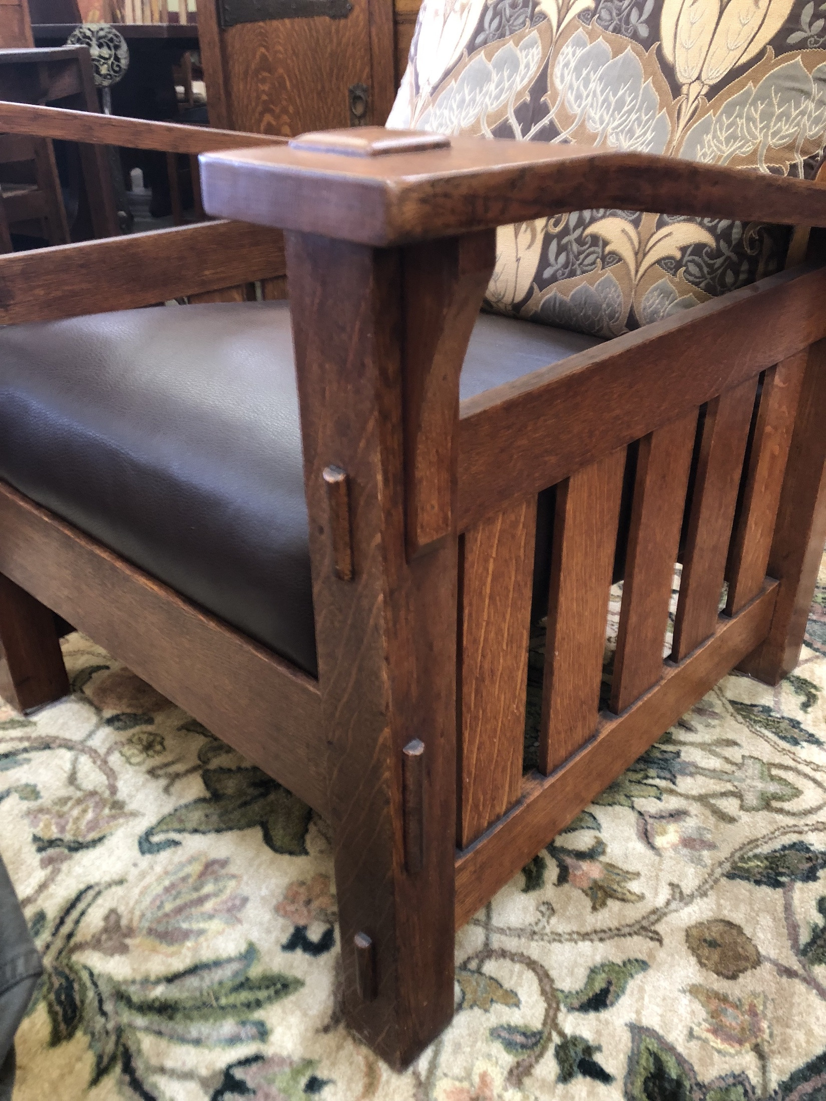 Quaint Art Vintage Morris Chair with leather seat and Arts and Crafts Fabric on back cushion Stickley Era