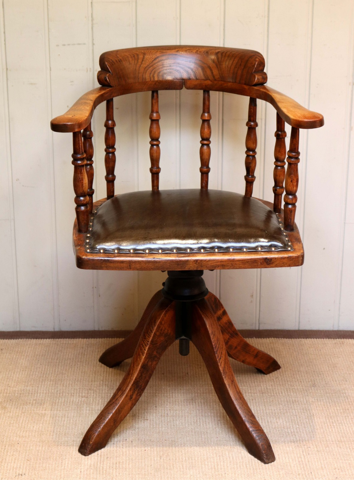 oak and leather office chair c1900
