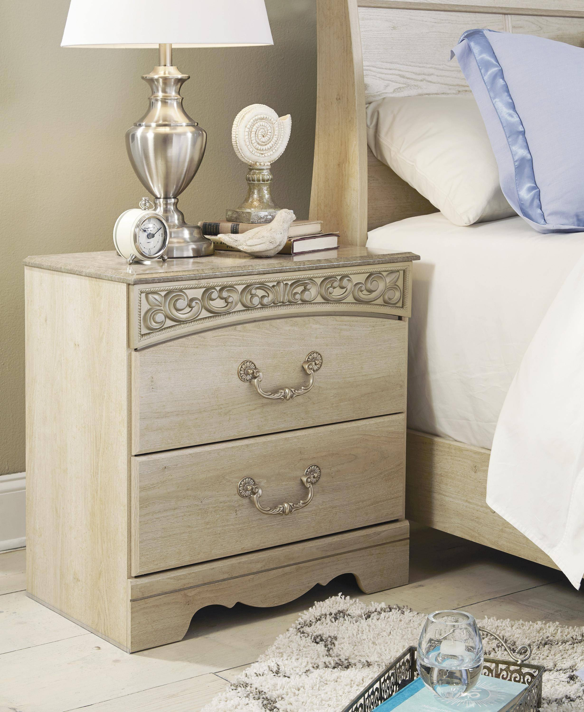ashley catalina b196 king size poster bedroom set 5pcs in antique white 3172