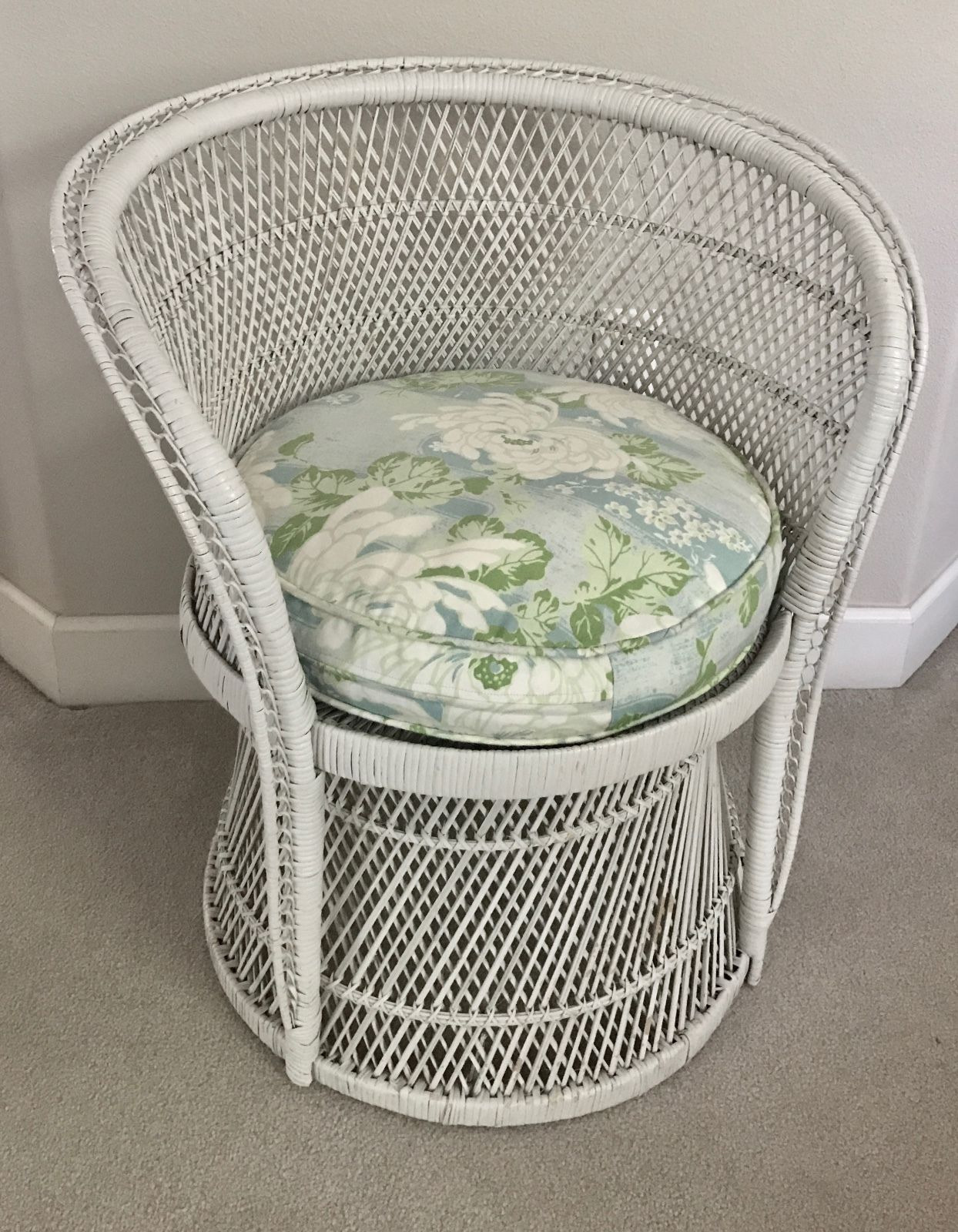 Antique Wicker Furniture for Sale On Ebay New Vintage White Buri Peacock Wicker Chair Shabby Chic Cottage Rattan Fan