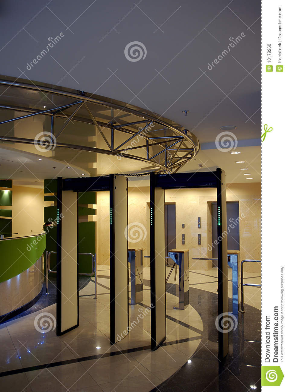 Building Entrance Gate Design Unique Entrance with Security Gate In Business Building Stock