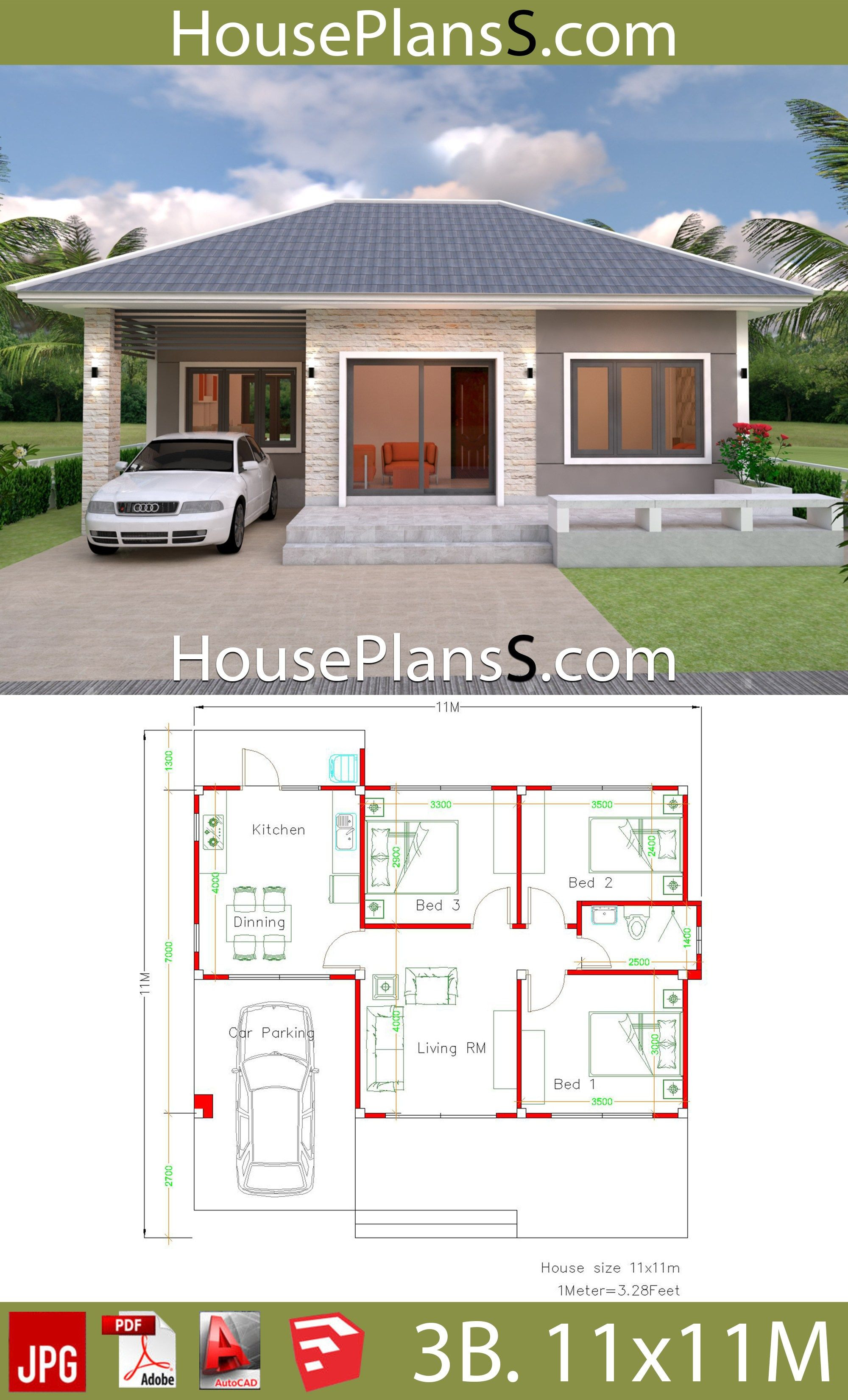 Building Plans for Houses Luxury Simple House Design Plans 11x11 with 3 Bedrooms Full Plans