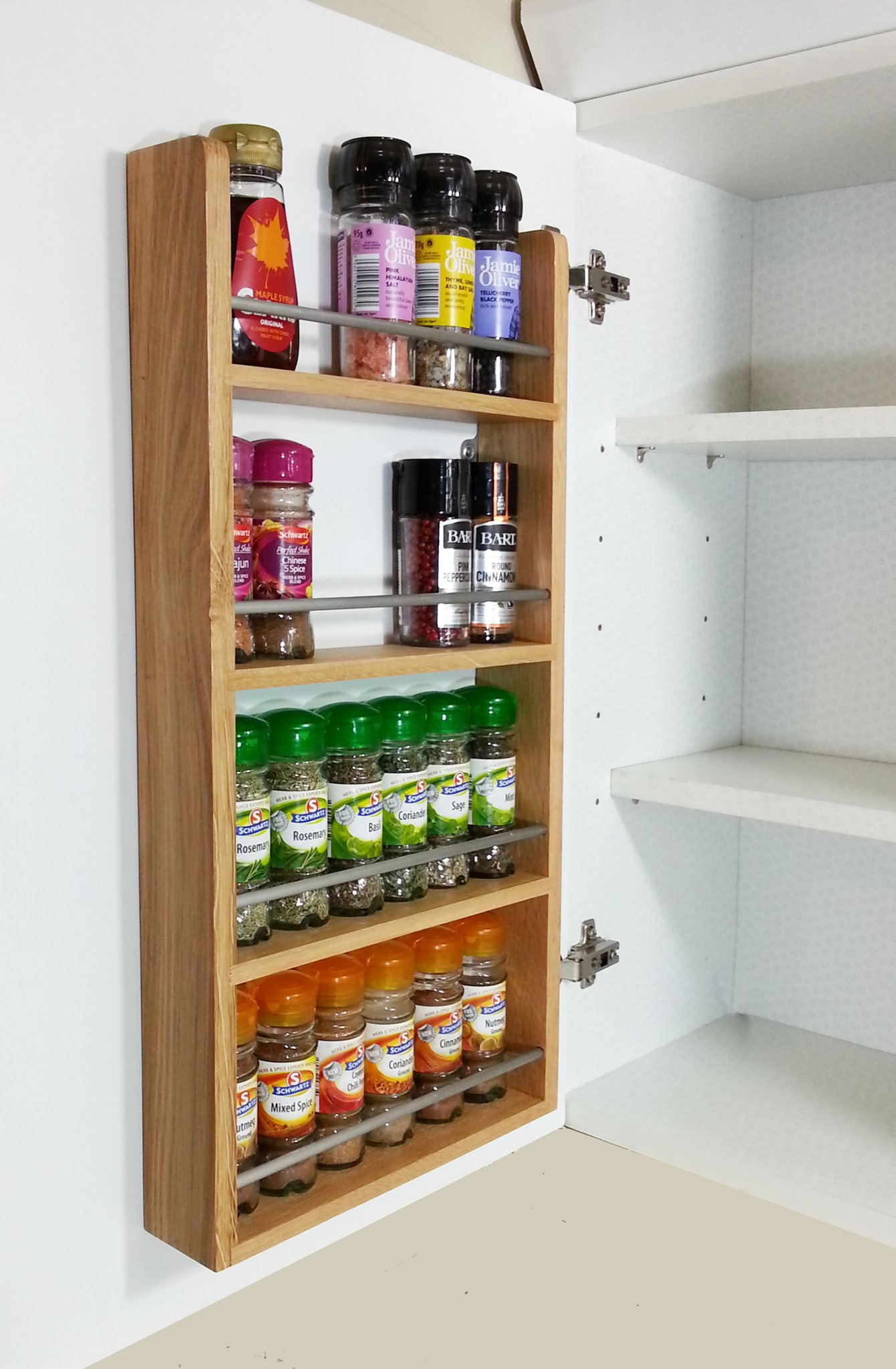 solid oak door rack 4 shelf