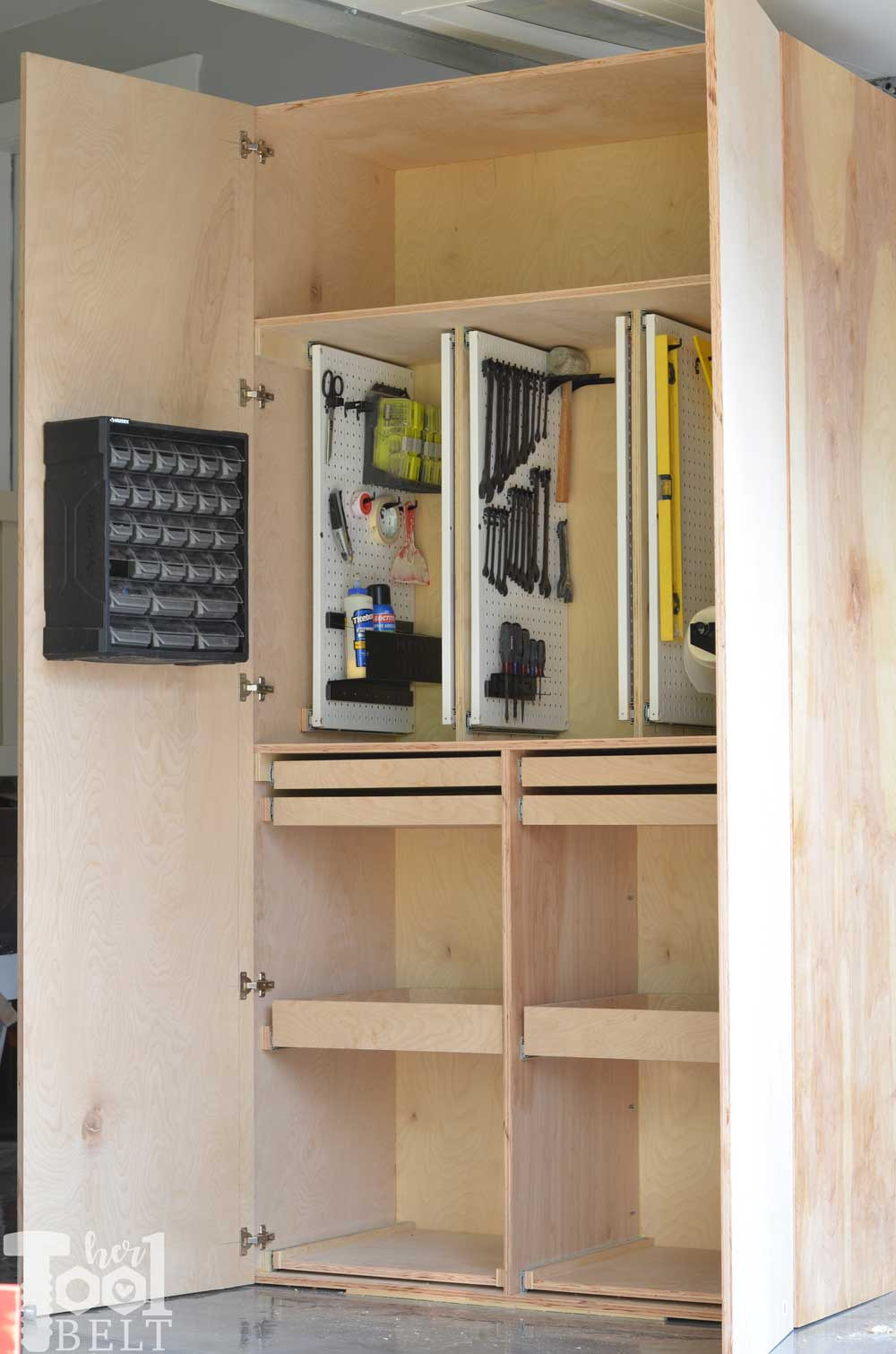 hand tool storage cabinet door open