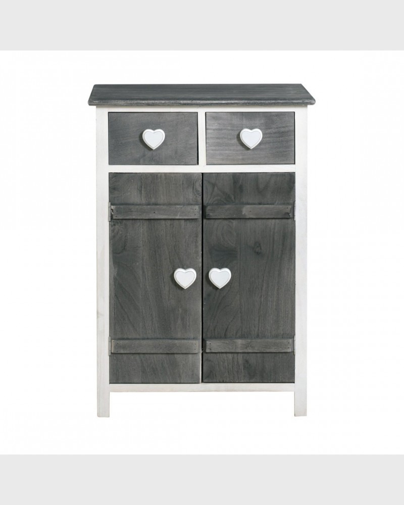 1920 shabby cabinet 2 doors 2 drawers gray and white