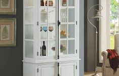 "Cabinet With Glass Doors Beautiful Major Q 81"" H Transitional White Finish Curio"