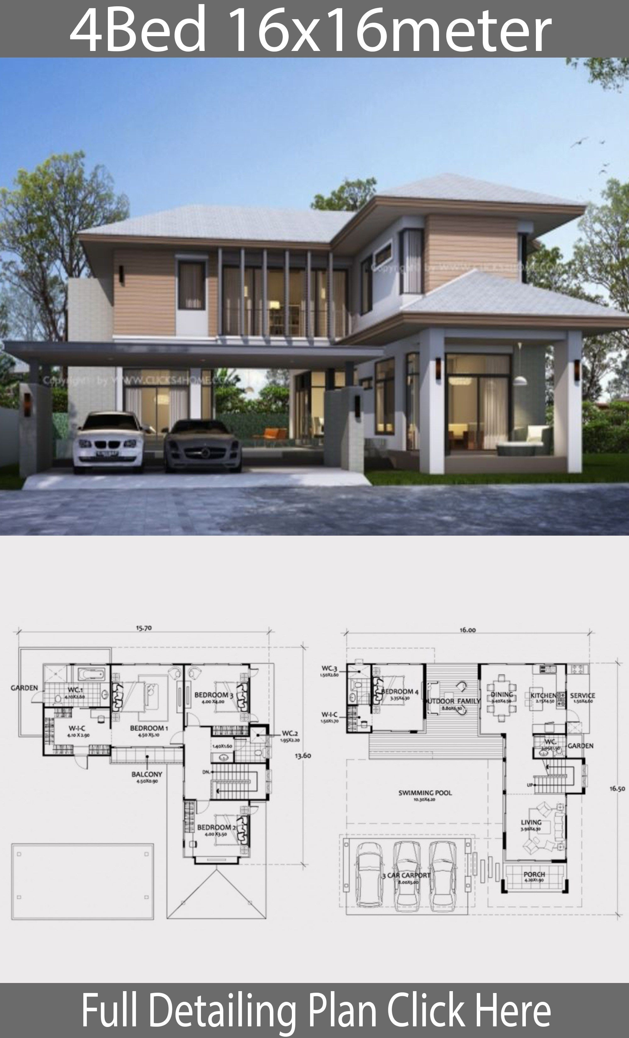Contemporary Home Designs Floor Plans Elegant Home Design Plan 16x16m with 4 Bedrooms