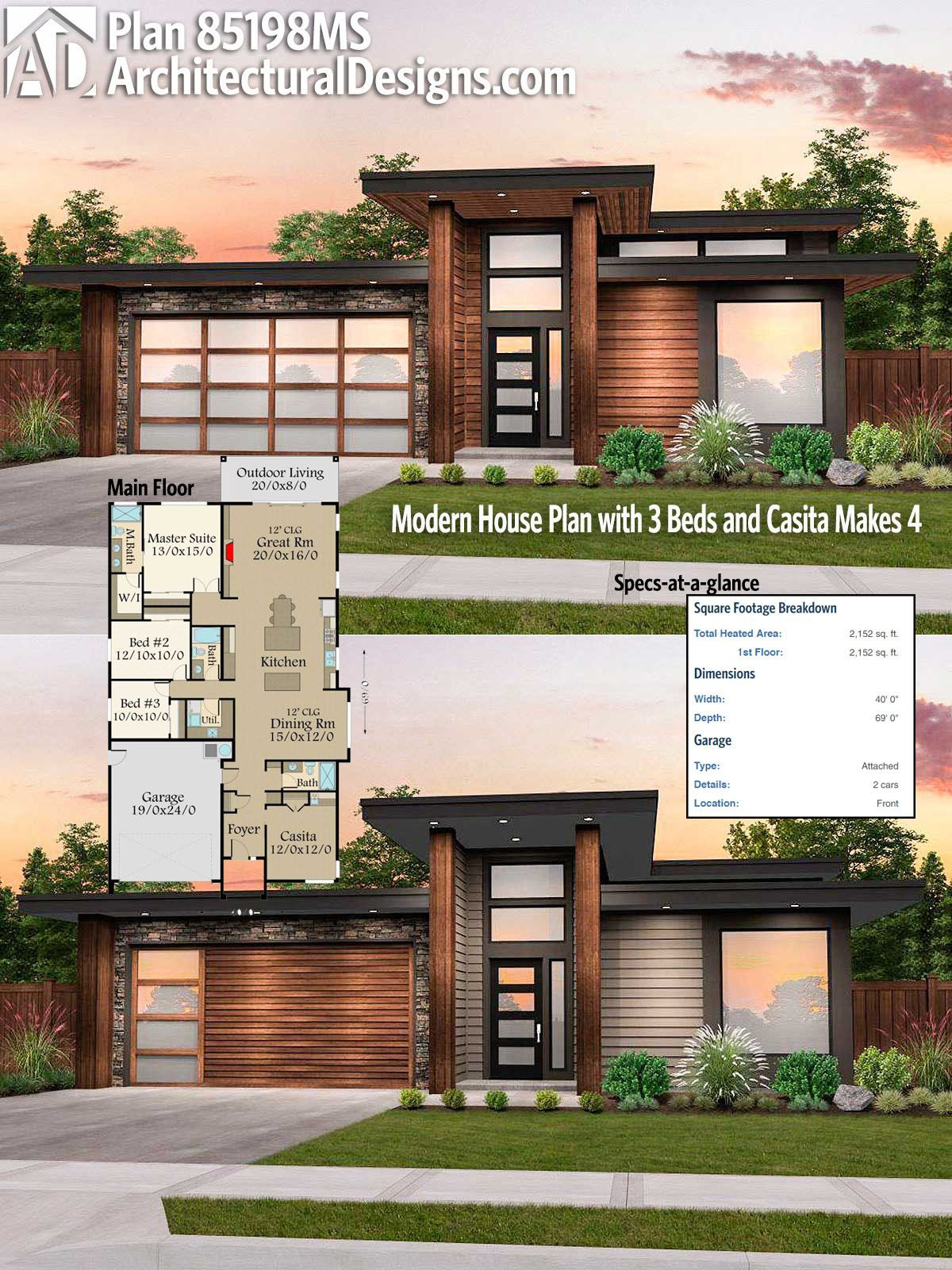 Contemporary House Plans for Sale Best Of Plan Ms Modern House Plan with 3 Beds and Casita Makes