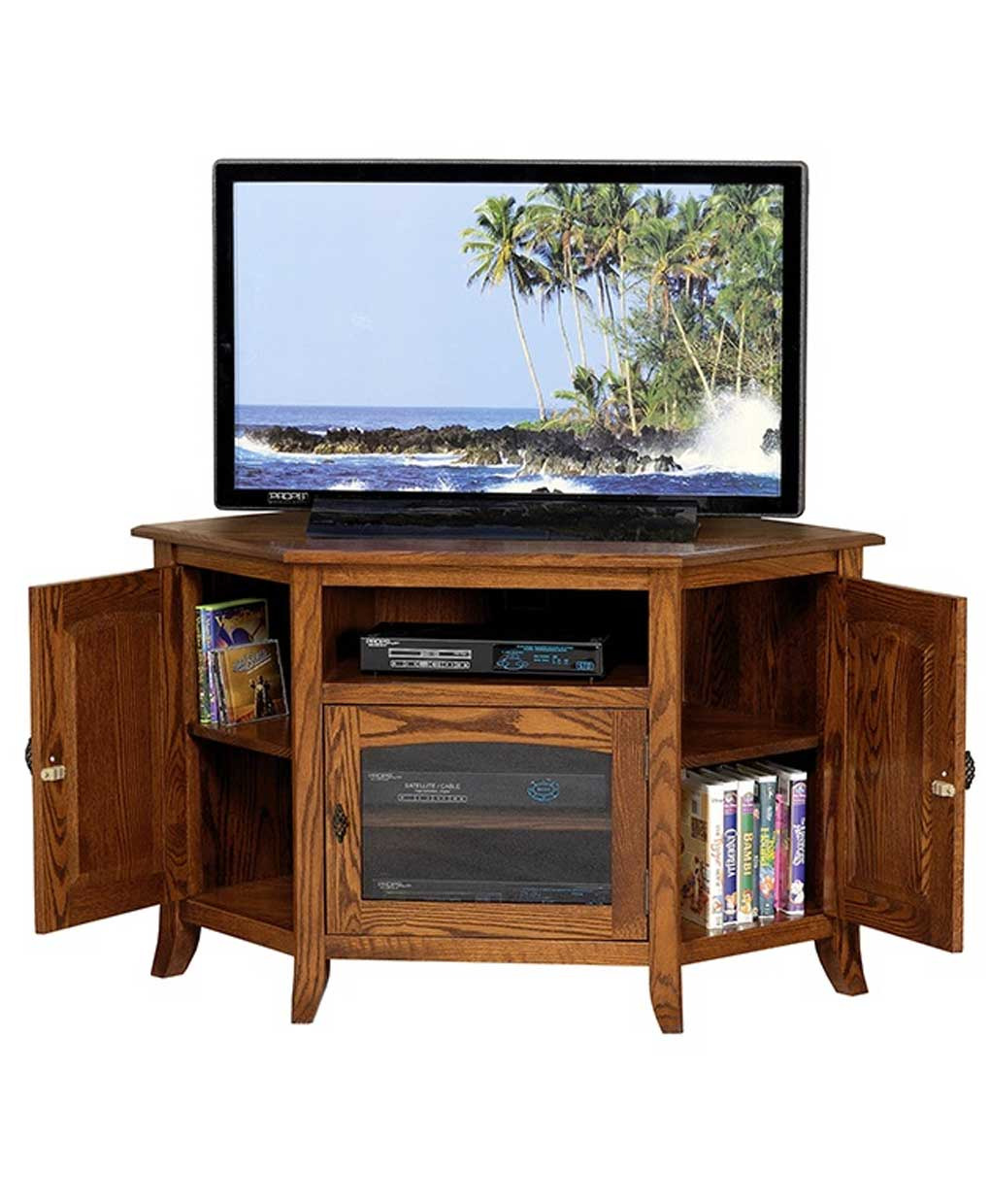 young mission style 35 corner tv stand
