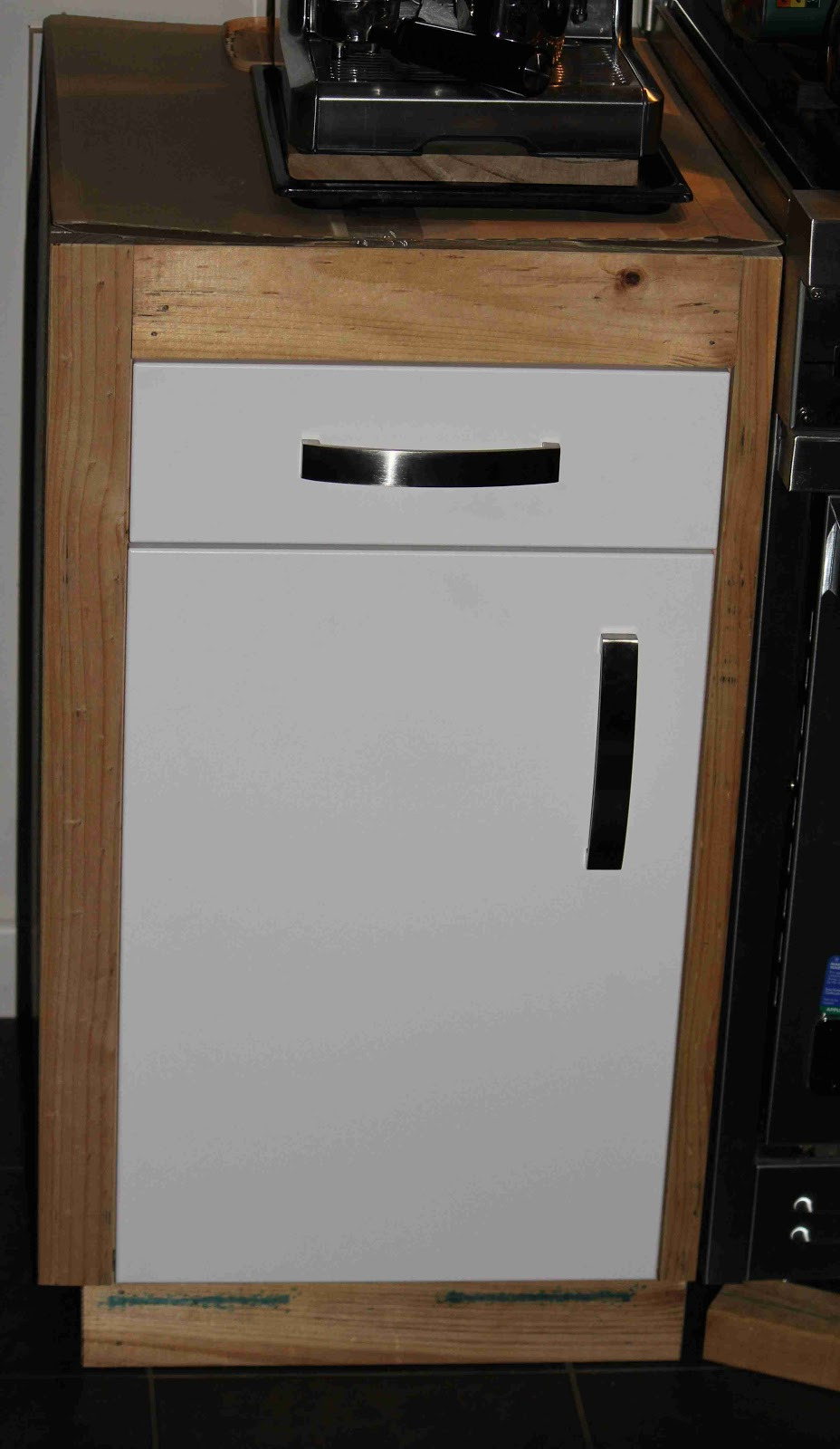 Bespoke Cabinet With IKEA Hardware Installed Before Painting And Benchtop JPG