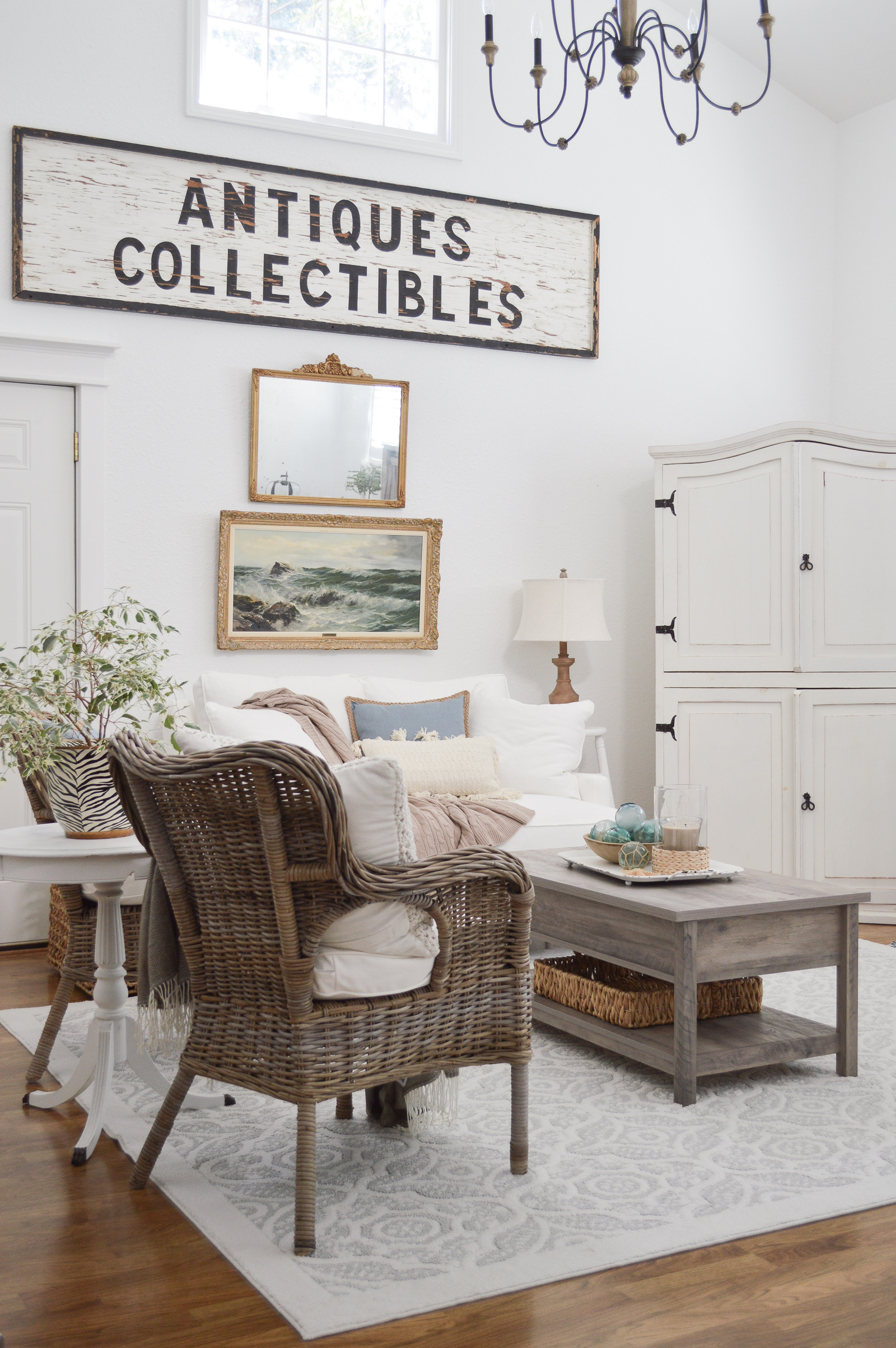 Cottage Farmhouse Living Room Decorated in Casual Cozy Coastal Vibe and Neutrals with Better Homes Gardens by Shannon Fox ad cottage farmhouse livingroom bhgatwalmart 3