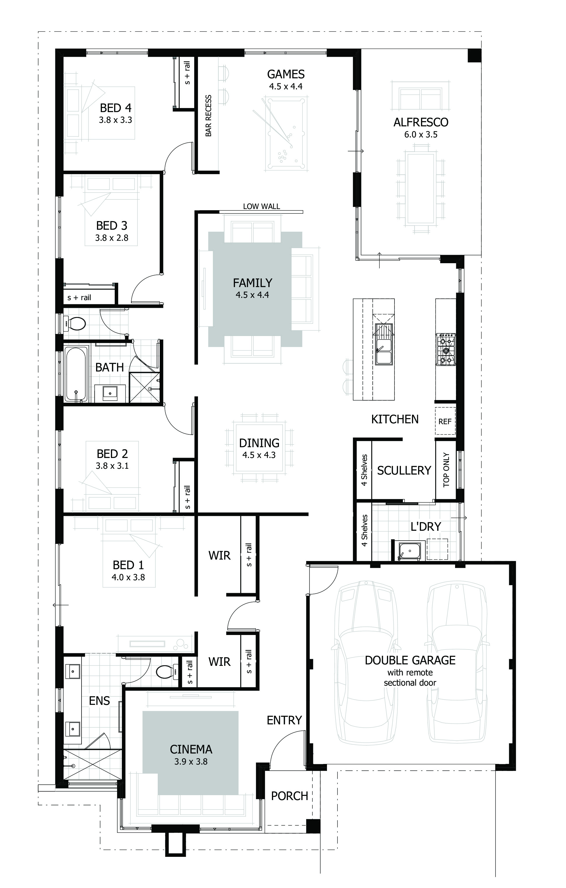 contemporary 4 bedroom house floor plan small home design architectural for rent