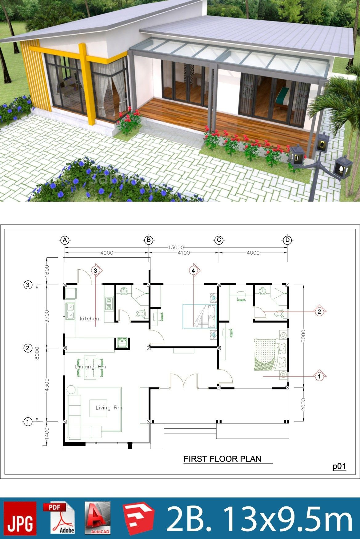 Designer House Plans with Interior Photos Awesome Plan 3d Interior Design House Plans 13x9 5m Full Plan 3beds