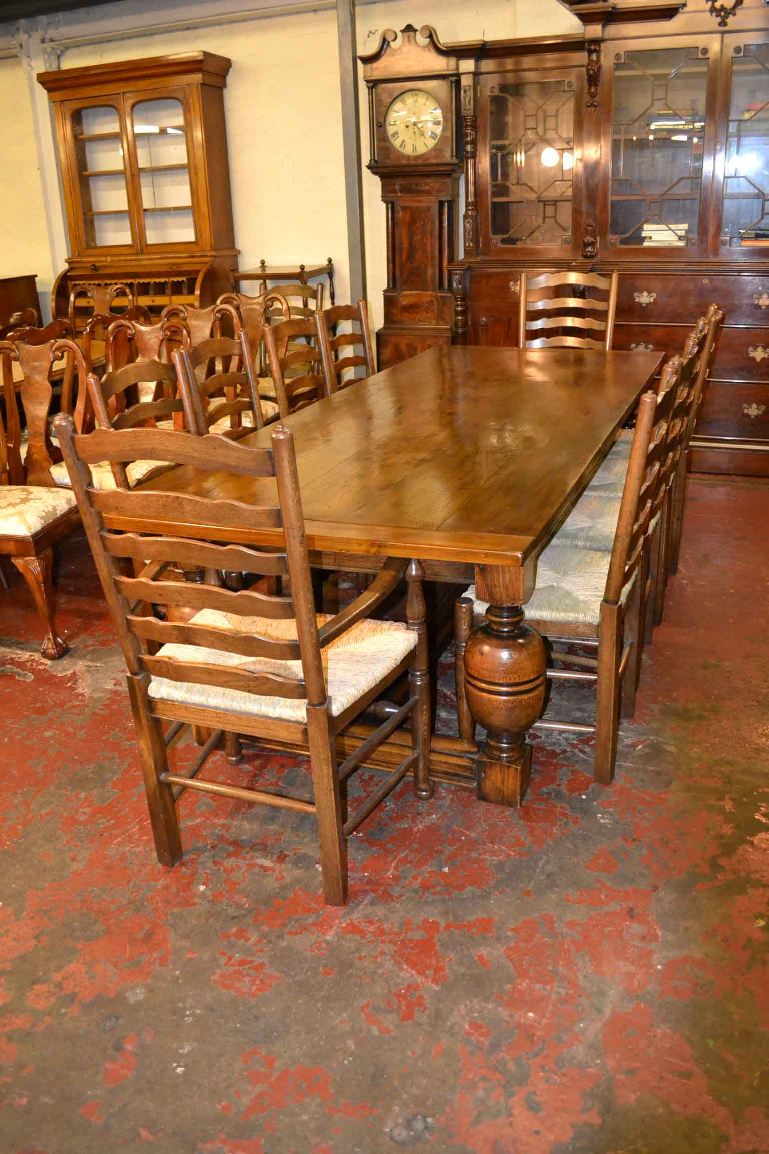 a Vintage English Dining Table 8 Chairs Oak Refectory