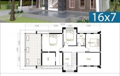 Free House Building Plans New 3 Bedrooms Modern Home Plan 7x16m
