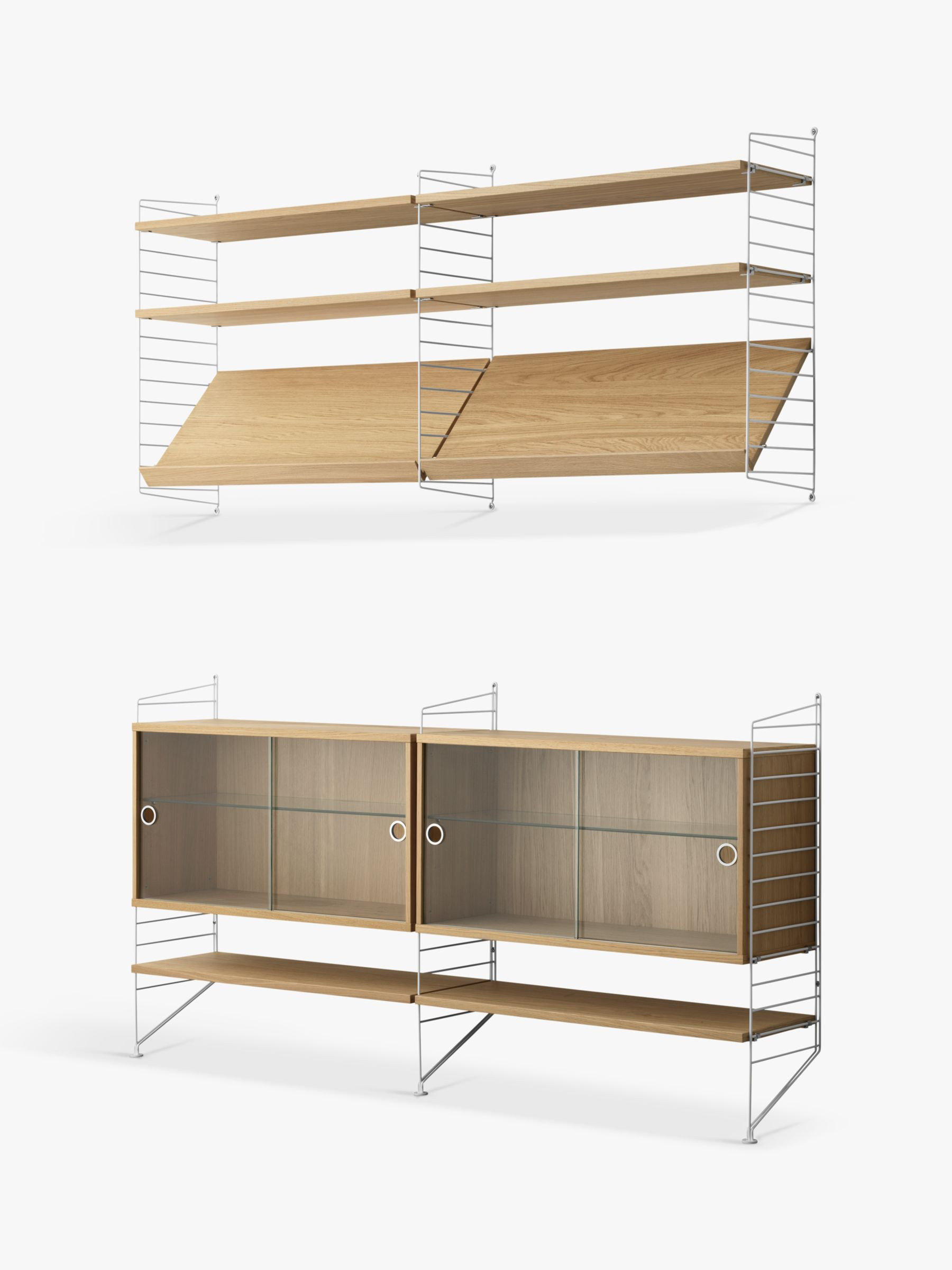Glass Door Cabinet Elegant String Pair Of Shelving Units with Double Glass Door Cabinets Shelves and Wall Fastened Side Racks Oak White