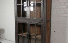 Glass Door Cabinet Lovely Reclaimed Iron And Wood Glass Door Cabinet