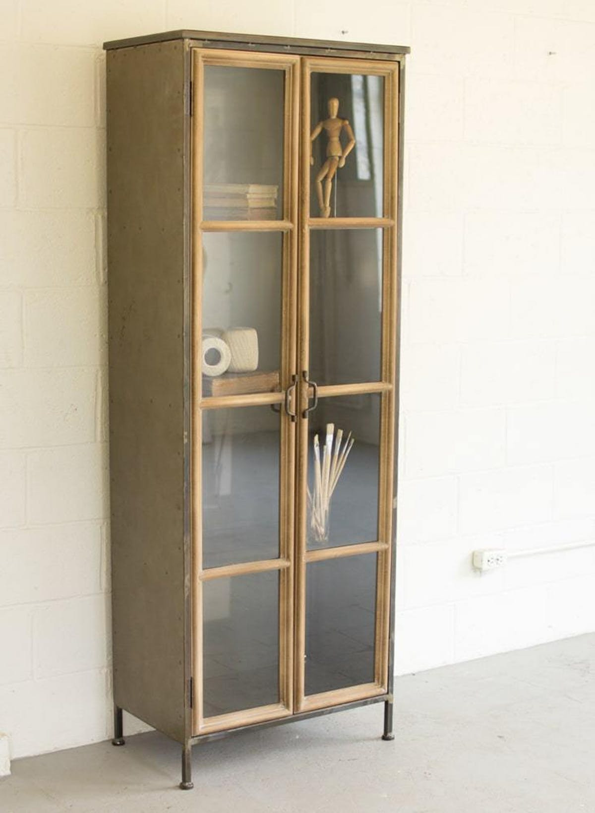 CLL2171 Kalalou Wood And Metal Cabinet With Glass Doors