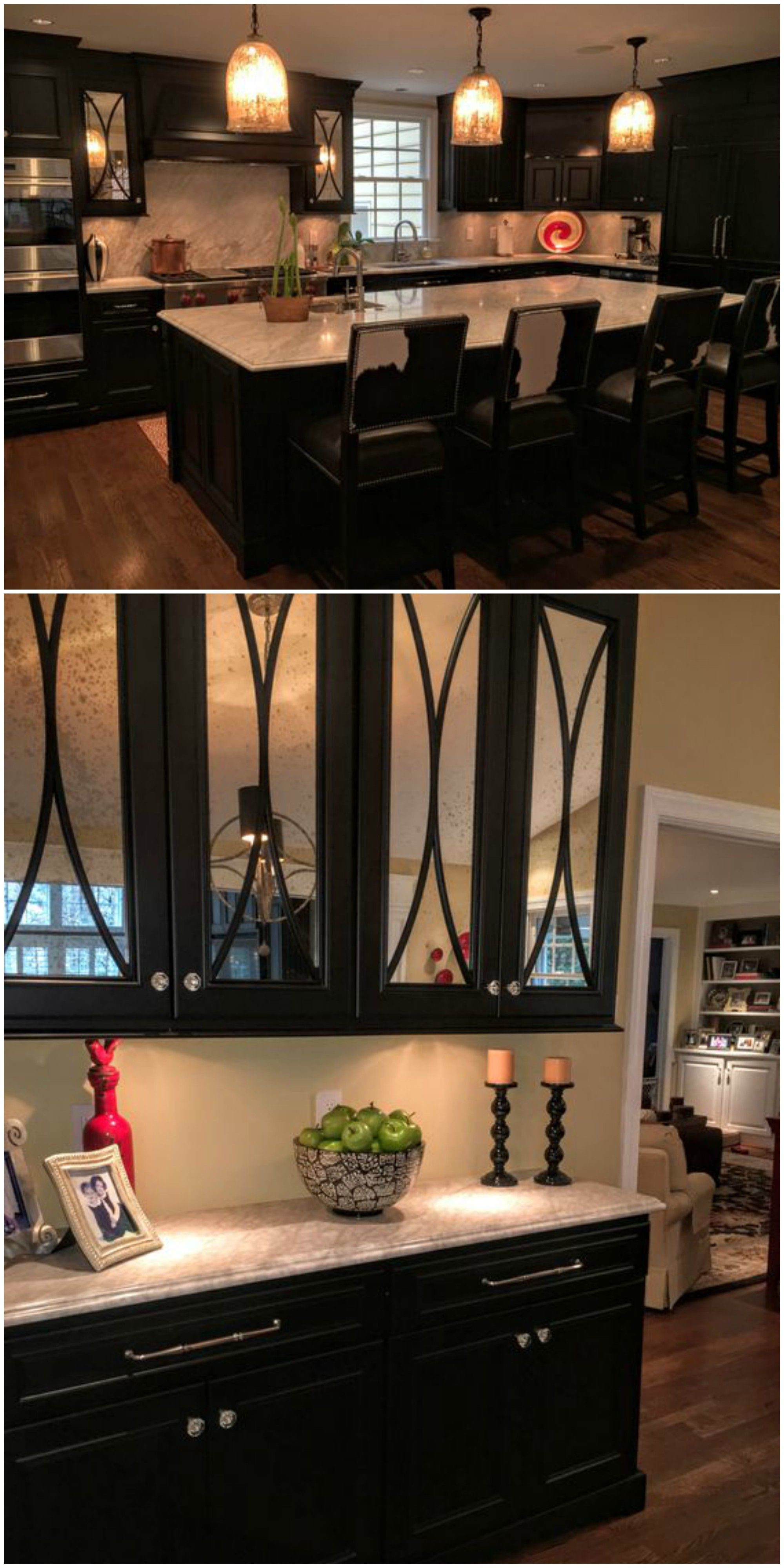 Glass Front Cabinet Doors Awesome Dark Painted Kitchen Mercury Glass Fronted Doors with