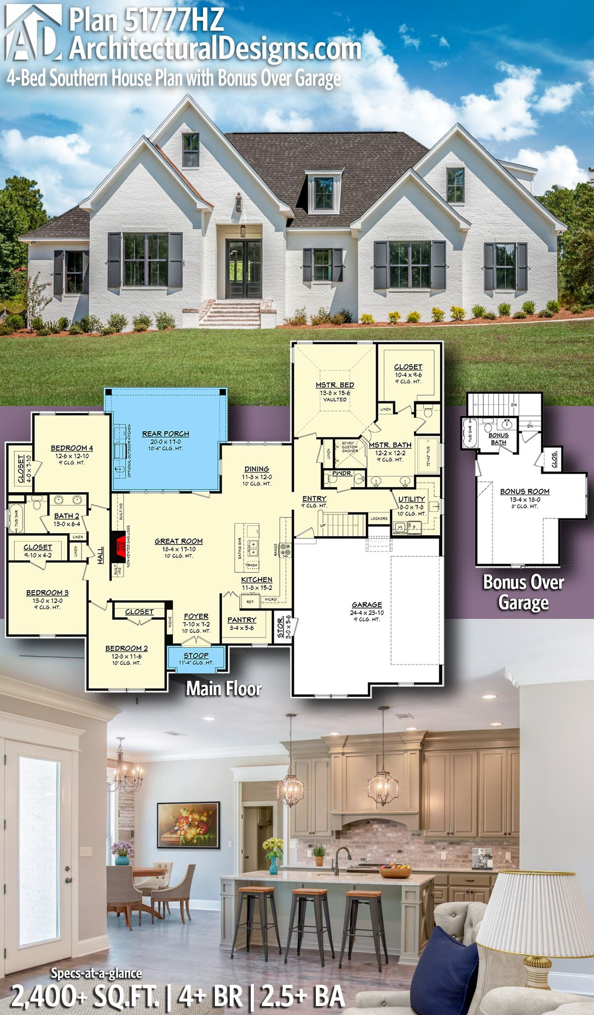 House Add On Plans Inspirational Plan Hz 4 Bed southern House Plan with Bonus Over