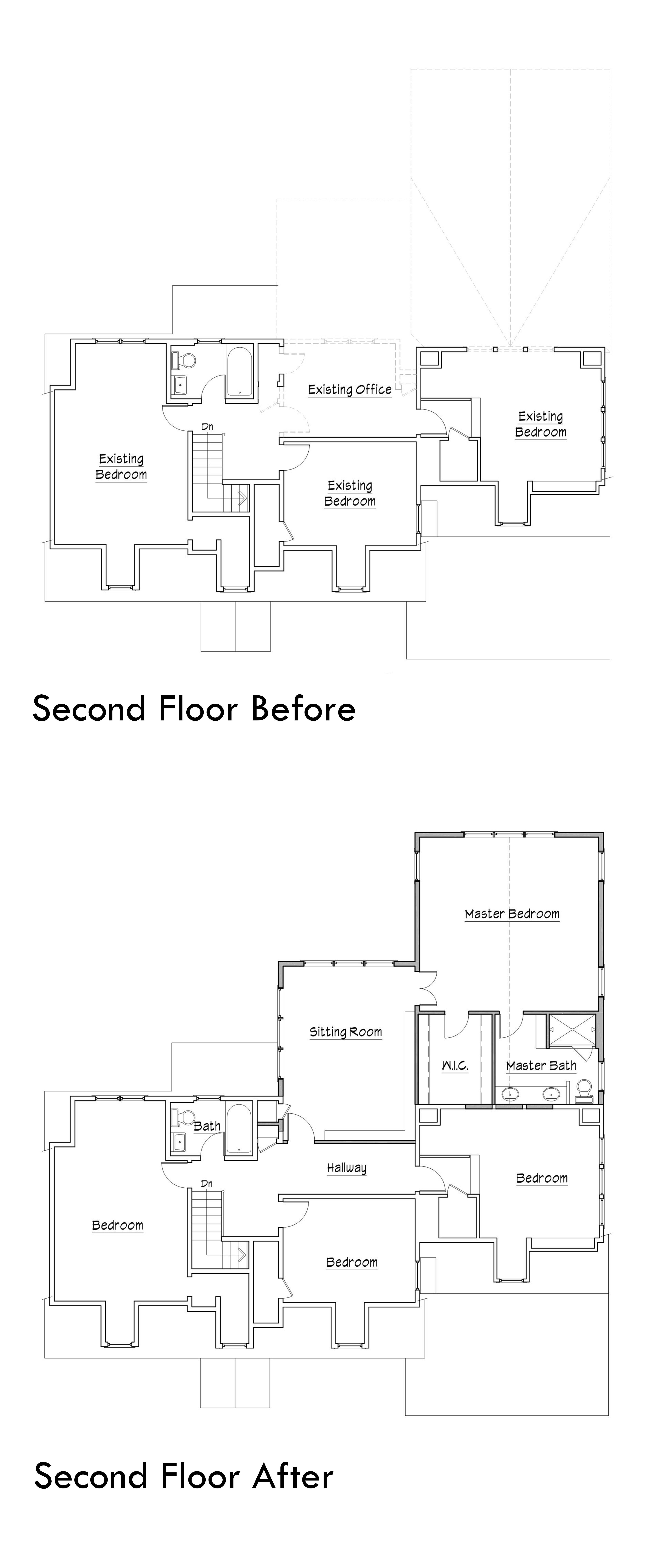 before and after plans Two families one house