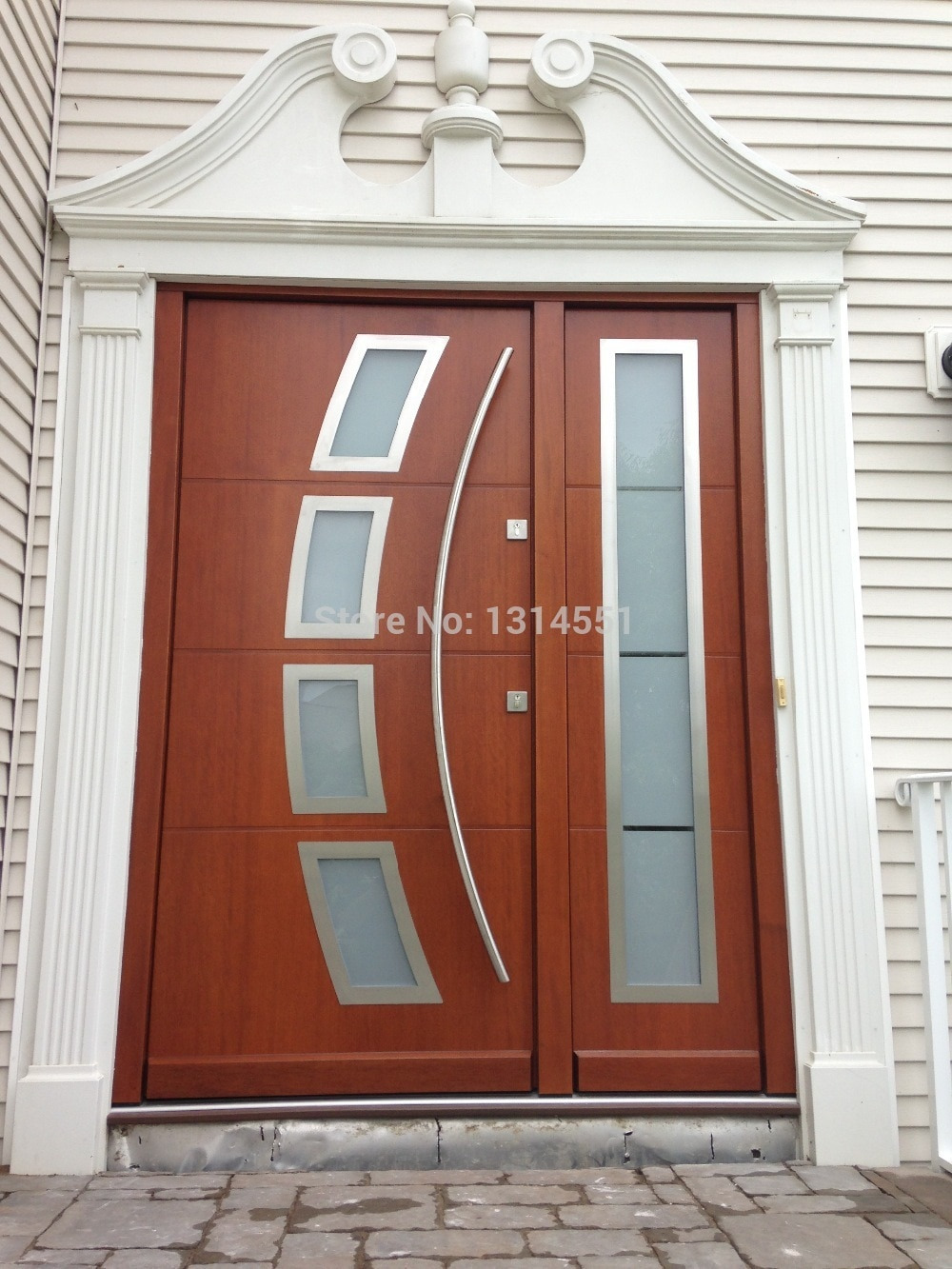 Arch shaped 70 Inches 1800mm Modern Stainless Steel Entrance Entry fice Store Front Wood Timber Glass