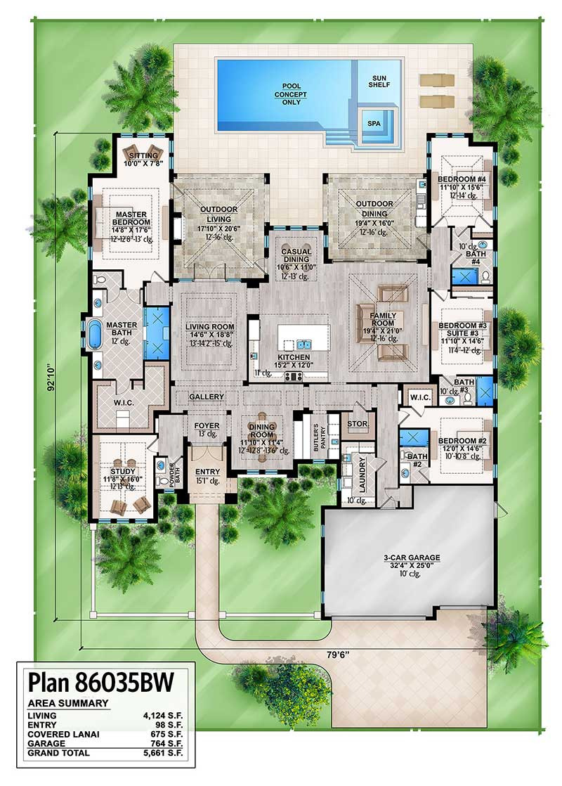 split bedroom florida house plan bw