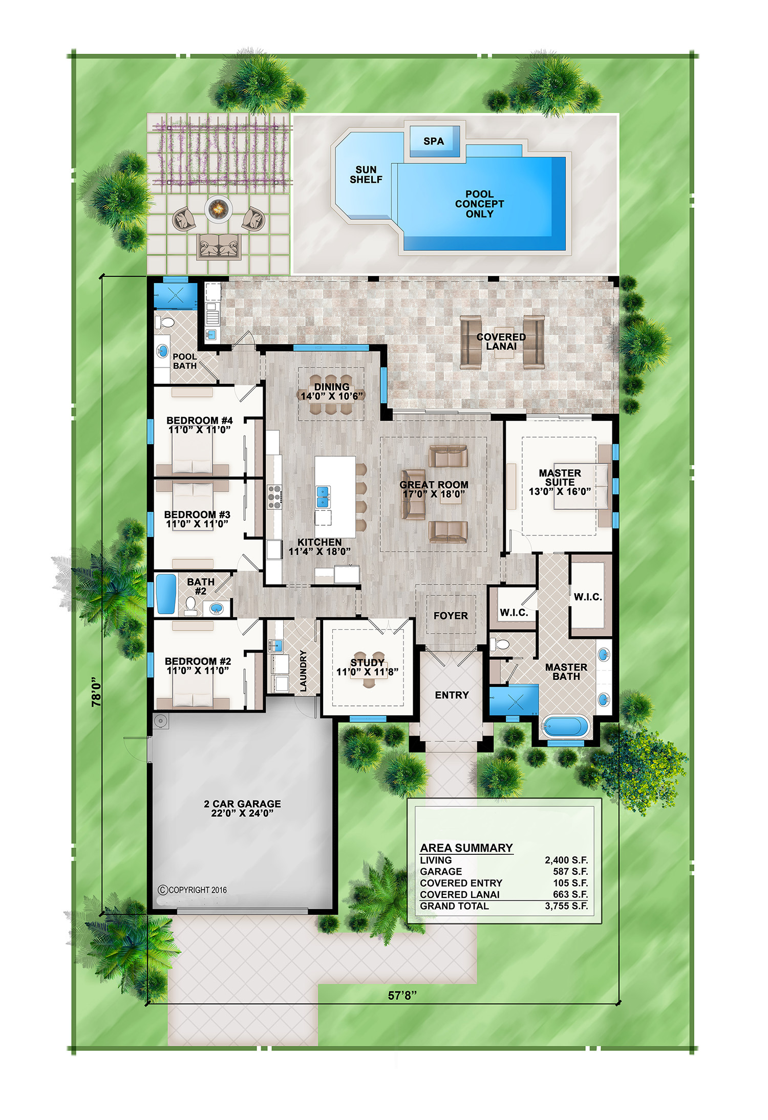 waterfront 4 bedroom house plan
