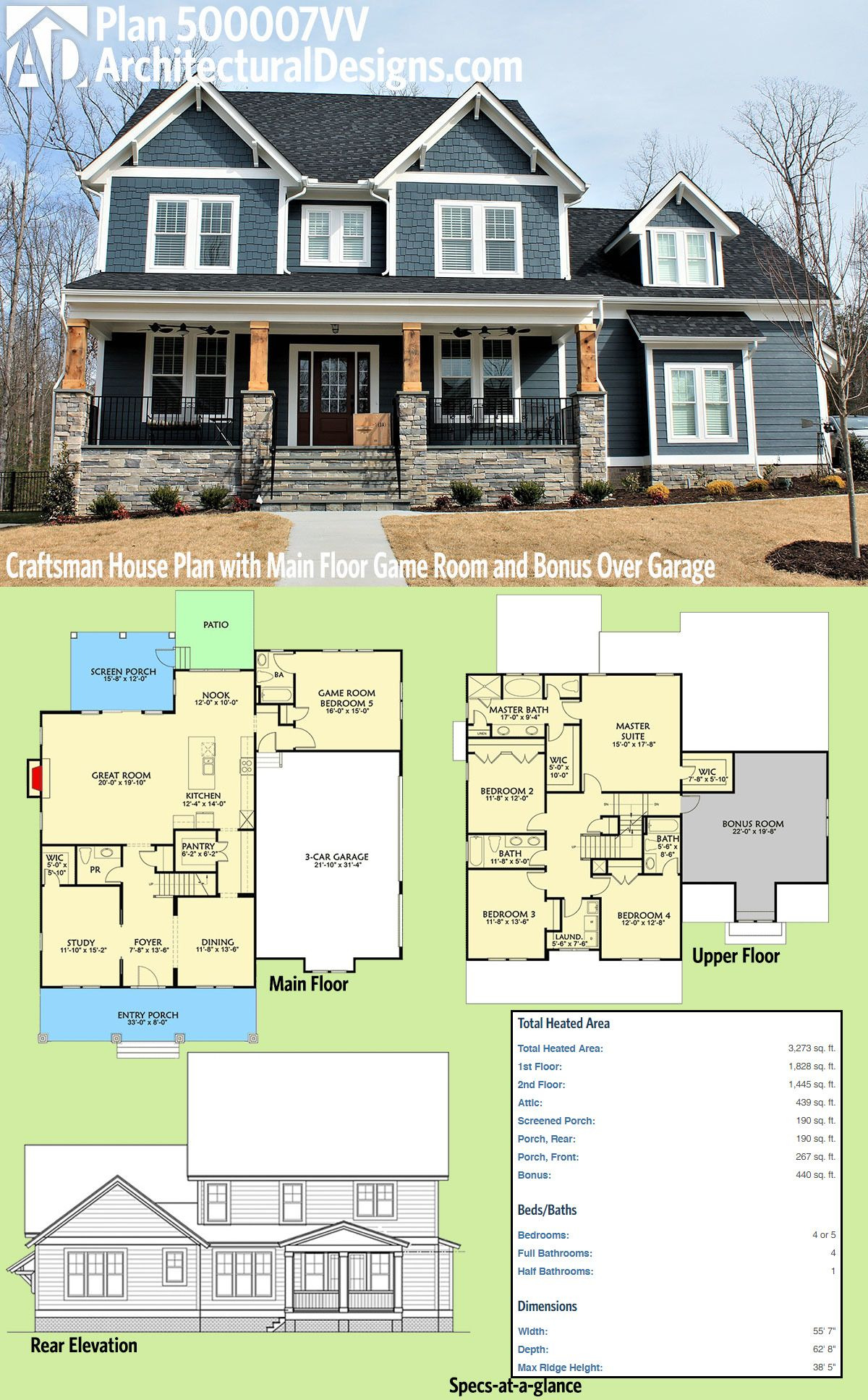 House Plans with Screened Porches Beautiful Architectural Designs Craftsman House Plan Vv Has A