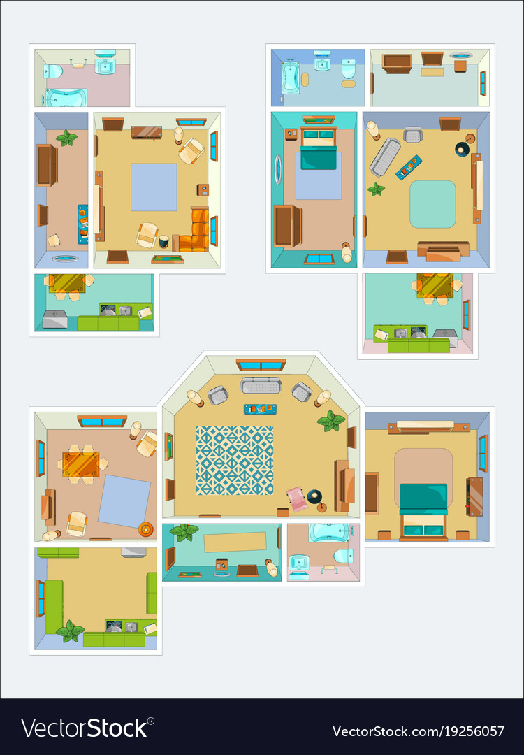 drawings for the layout of the apartment top view vector