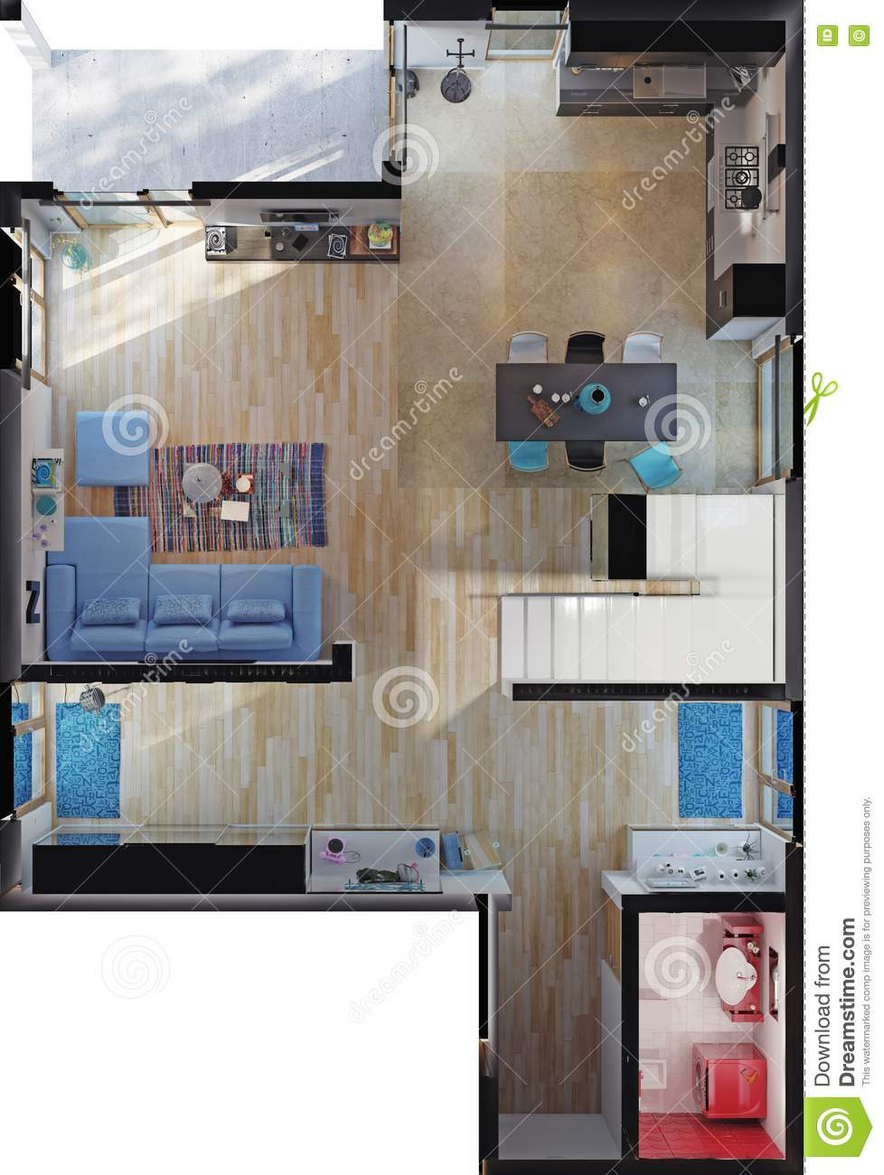 House top View Design Beautiful Modern House Rooms top View Stock Illustration