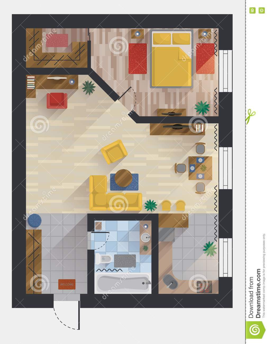 apartment flat house floor plan top view design planning designing studio bedroom dining room kitchen bathroom