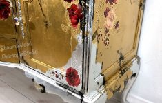 How To Antique Silver Leaf Furniture Beautiful Gold Silver Buffet Black Floral Dresser Handpainted