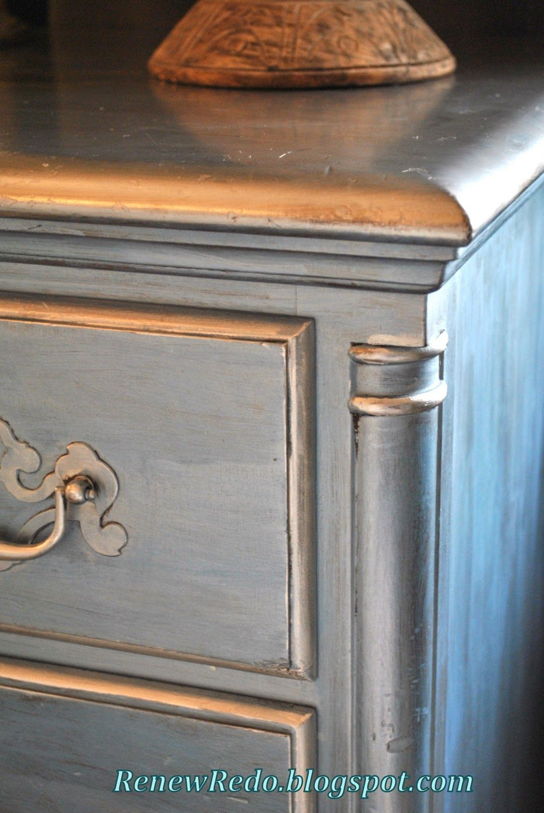 How to Antique Silver Leaf Furniture Lovely Pearl Blue and Silver Leaf Desk Redo Rub N Buff