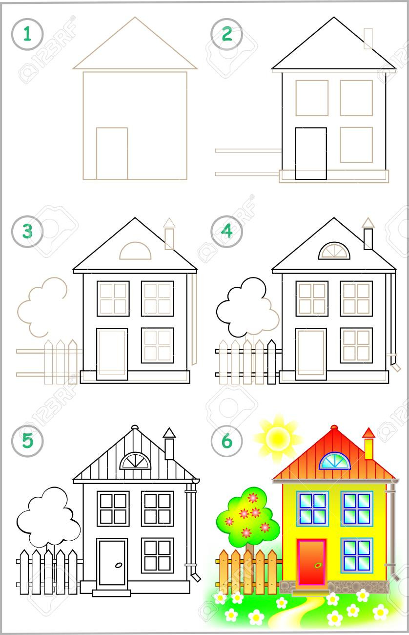 photo stock vector page shows how to learn step by step to draw a house developing children skills for drawing and colo