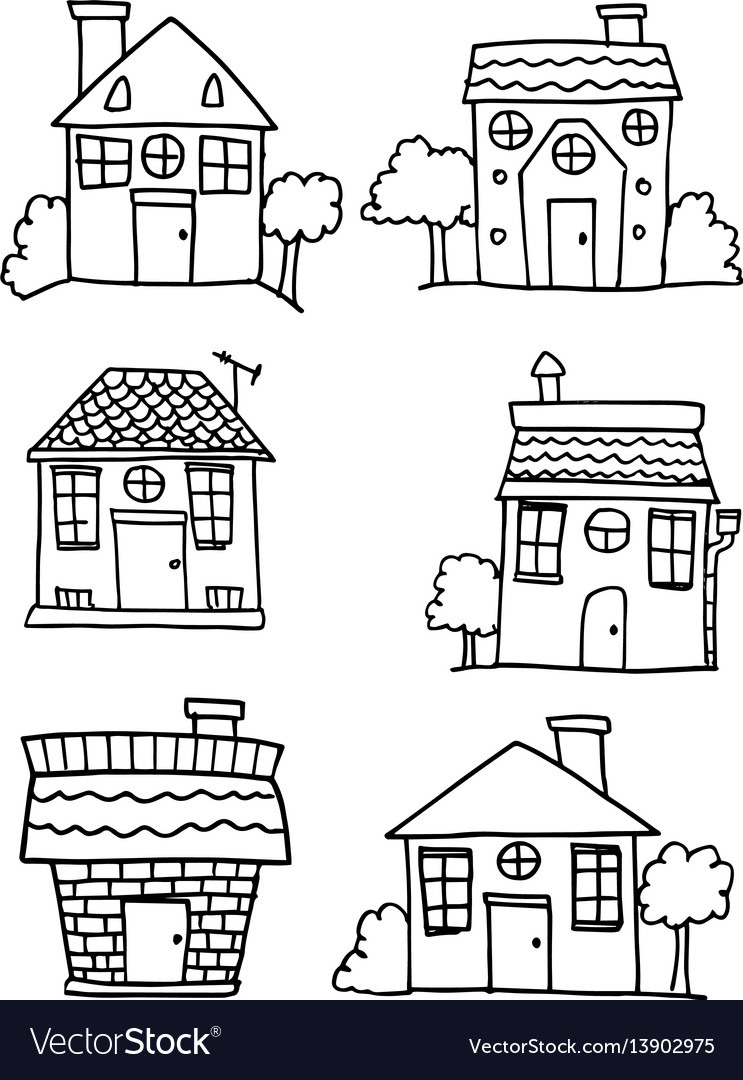 How to Draw A Pretty House Luxury Set Of House and Building Style Hand Draw