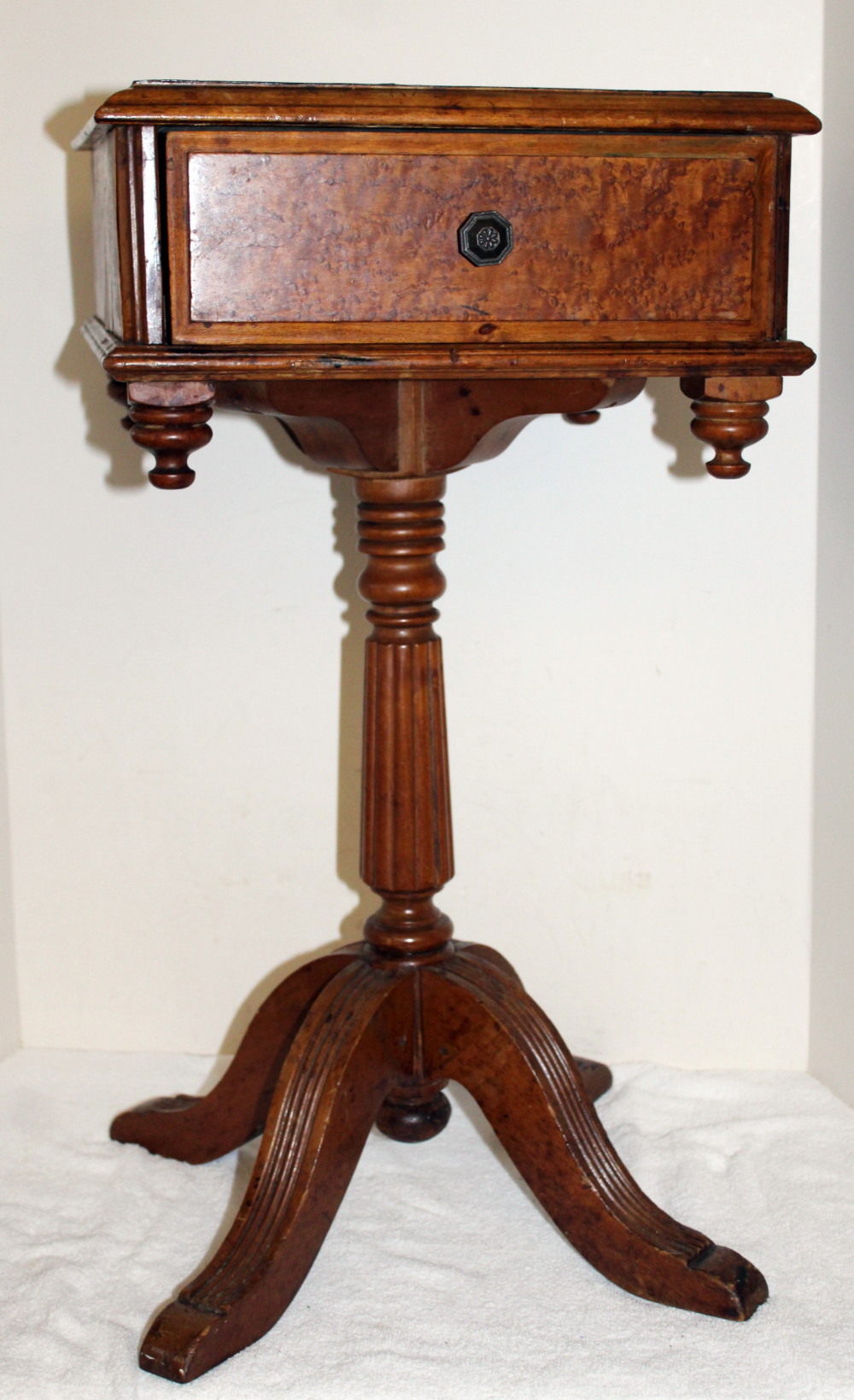 How to Sell Antique Furniture On Ebay Beautiful Details About Antique Burl Wood Telephone Desk Stand Occasional Table Dovetailed Drawer