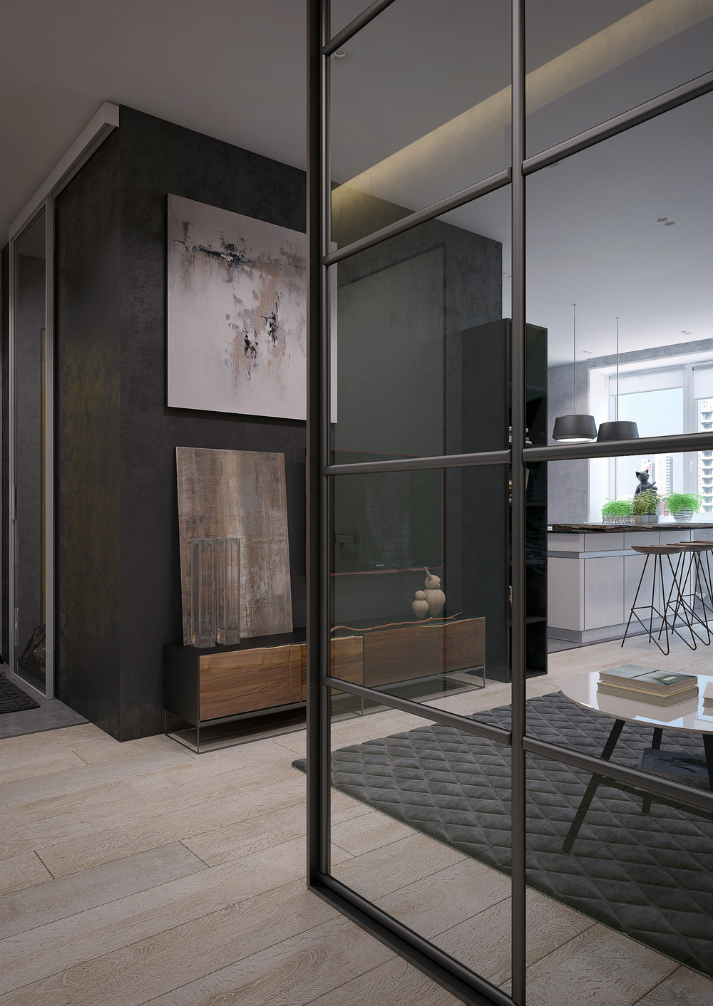 Interior Glass Walls for Homes Awesome Two Sleek Apartments with Interior Glass Walls
