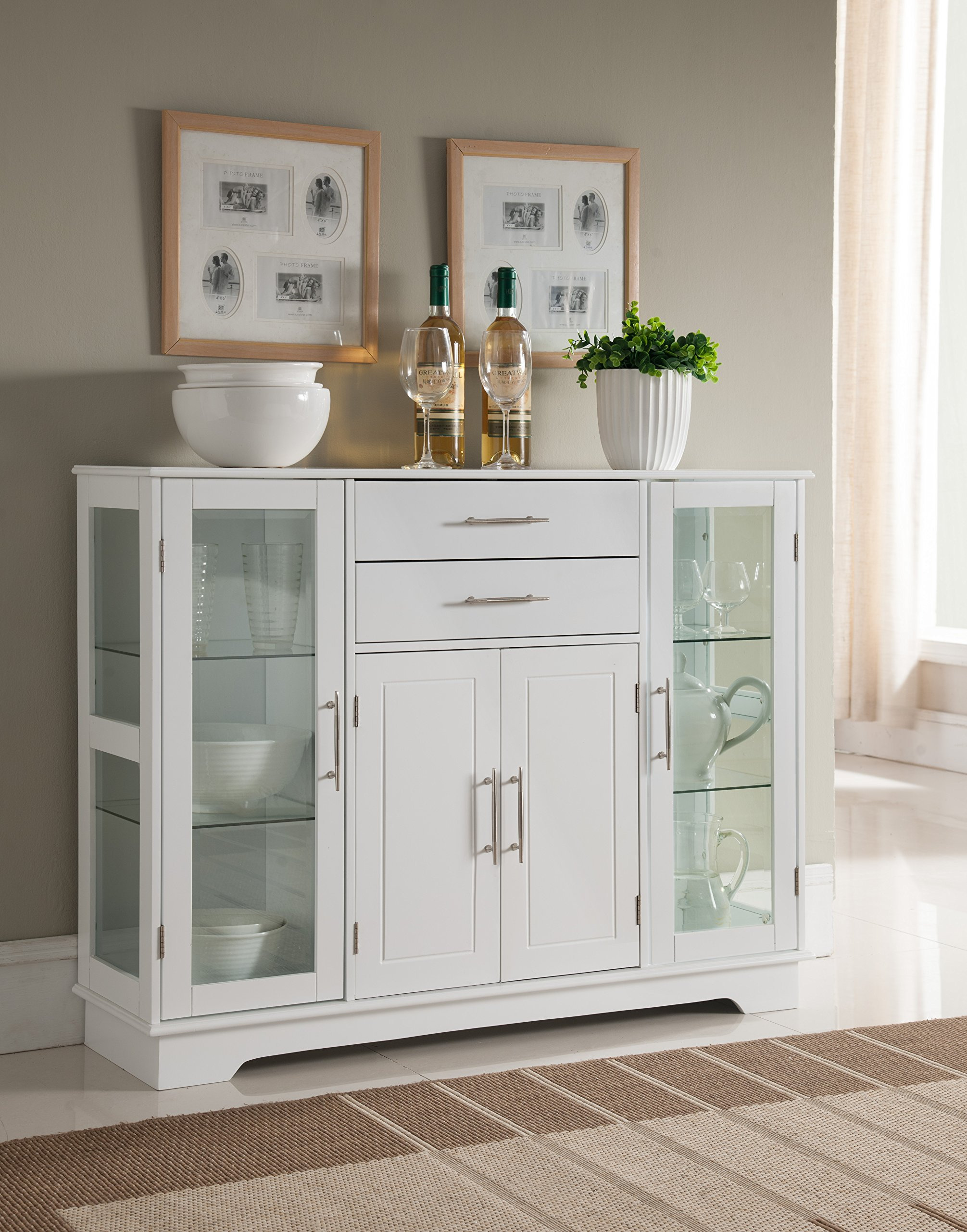 kings brand furniture vd hw kitchen storage cabinet buffet with glass doors white