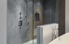 Large Walk In Shower Designs Elegant Walk In Doorless Shower With Gray Slate Tiles And A