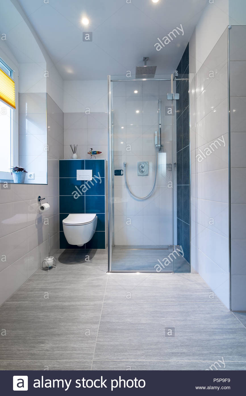 vertical shot of a luxury bathroom with large walk in shower blue and white tiles P5P9F9