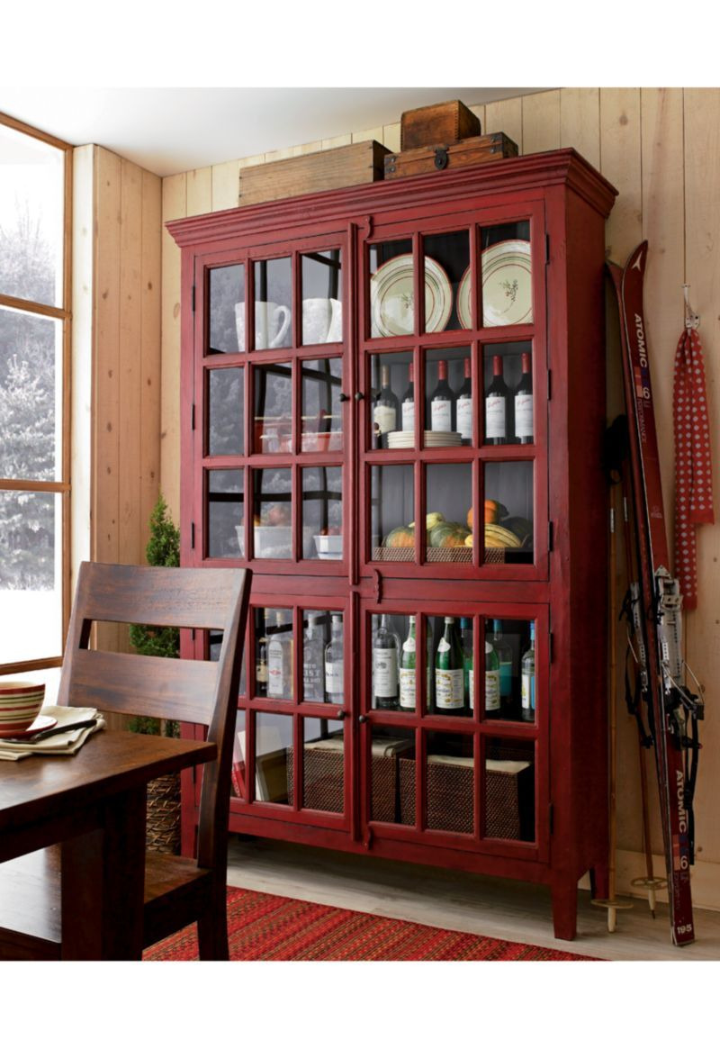 Media Cabinet with Glass Doors Luxury Tall Red Divided Cabinet with Four Paned Glass Doors Family