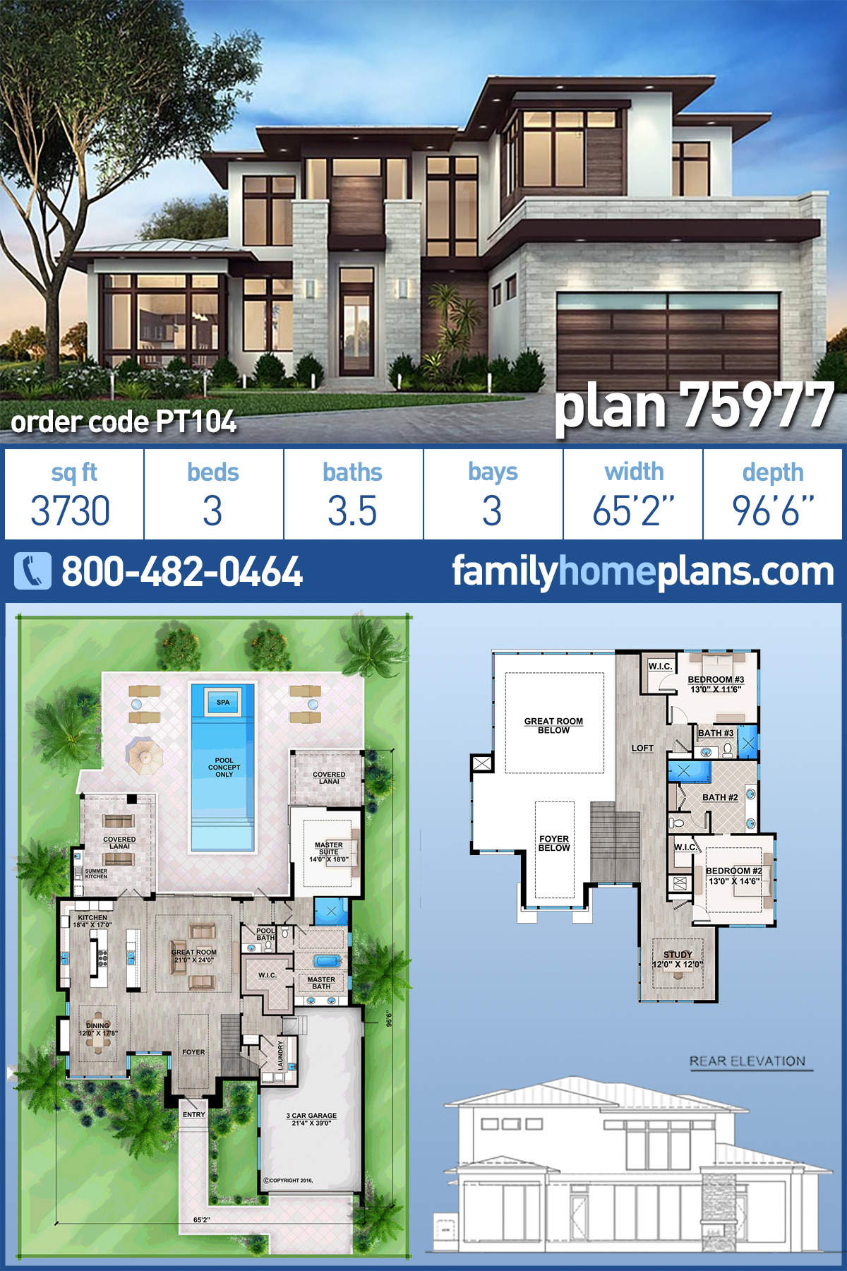 Modern House Plans with Pool Lovely Modern Style House Plan with 3 Bed 4 Bath 3 Car Garage